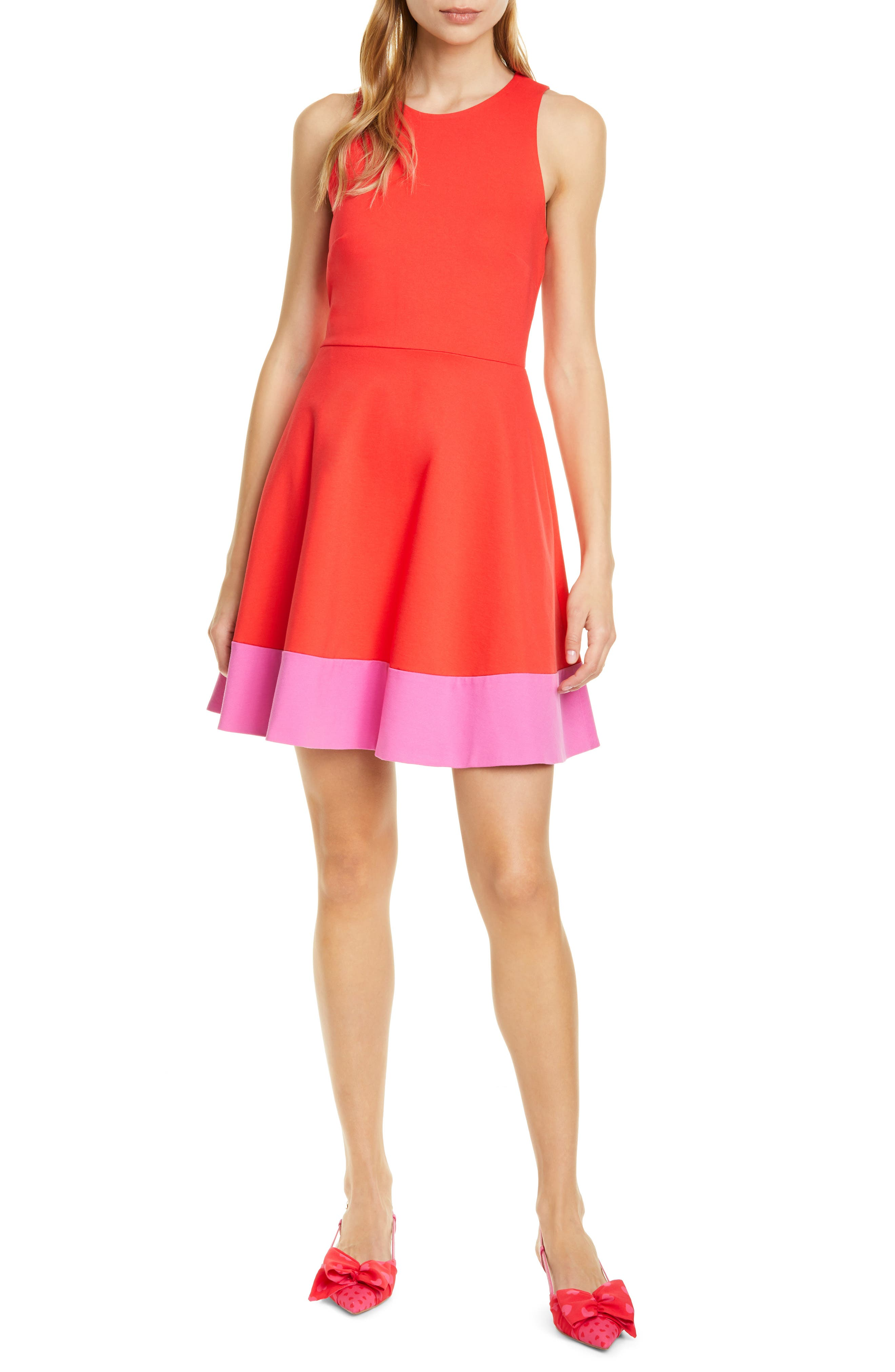 Kate Spade New York Colorblock Fit & Flare Dress, Red