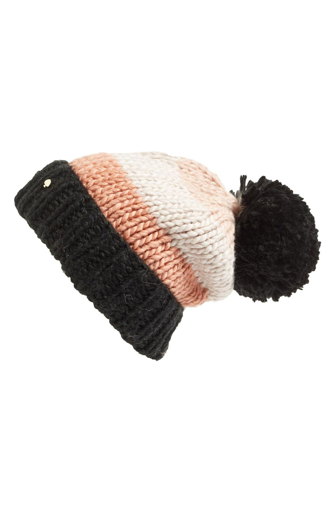 KATE SPADE NEW YORK, hand knit colorblock beanie, Main thumbnail 1, color, 250