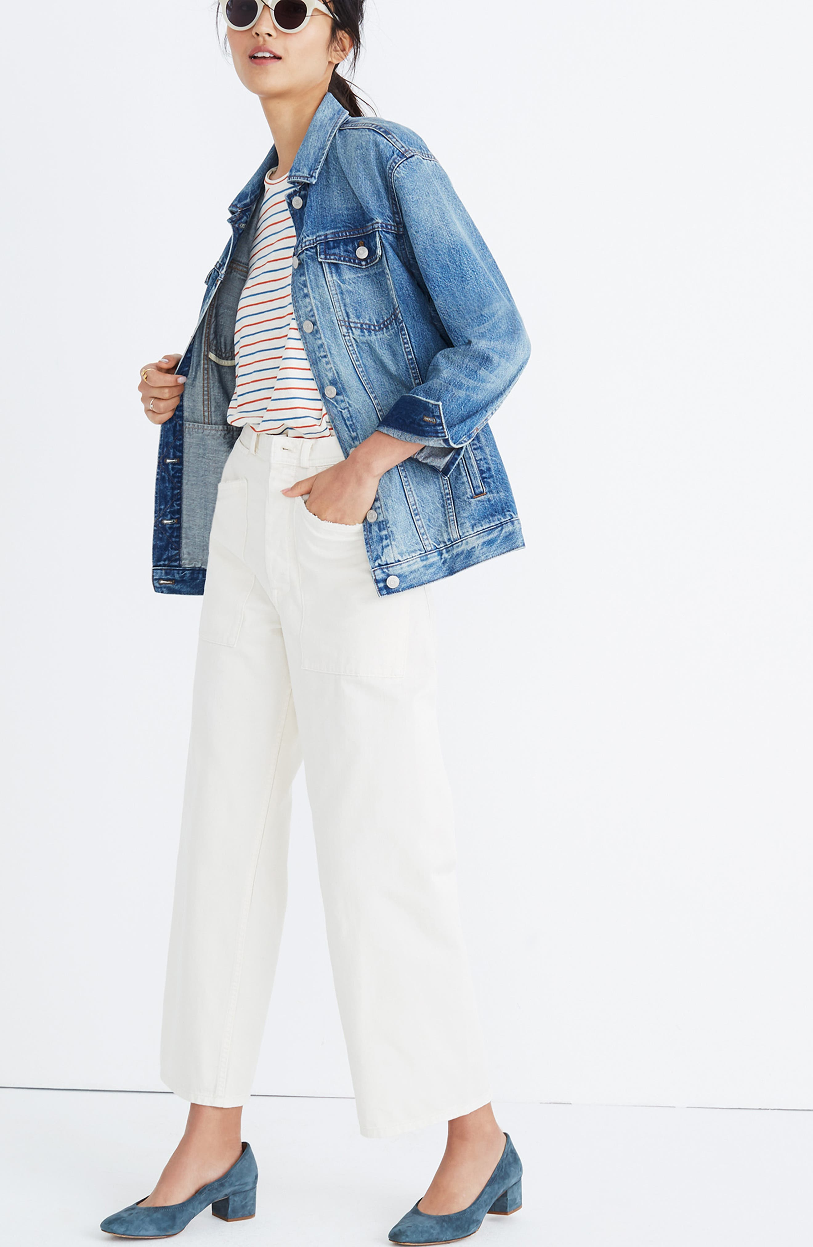 MADEWELL, Oversize Denim Jacket, Alternate thumbnail 6, color, CAPSTONE WASH