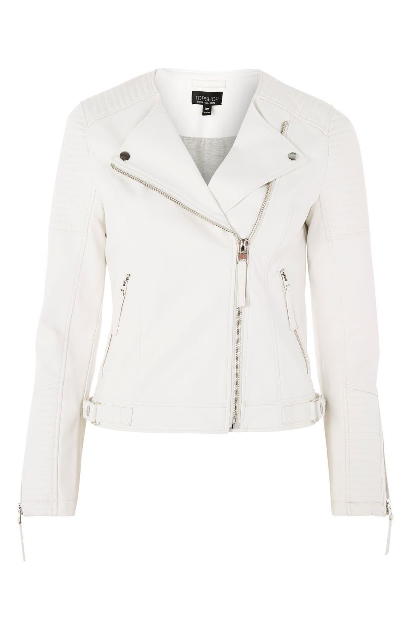 TOPSHOP, Luna Faux Leather Biker Jacket, Alternate thumbnail 3, color, 100