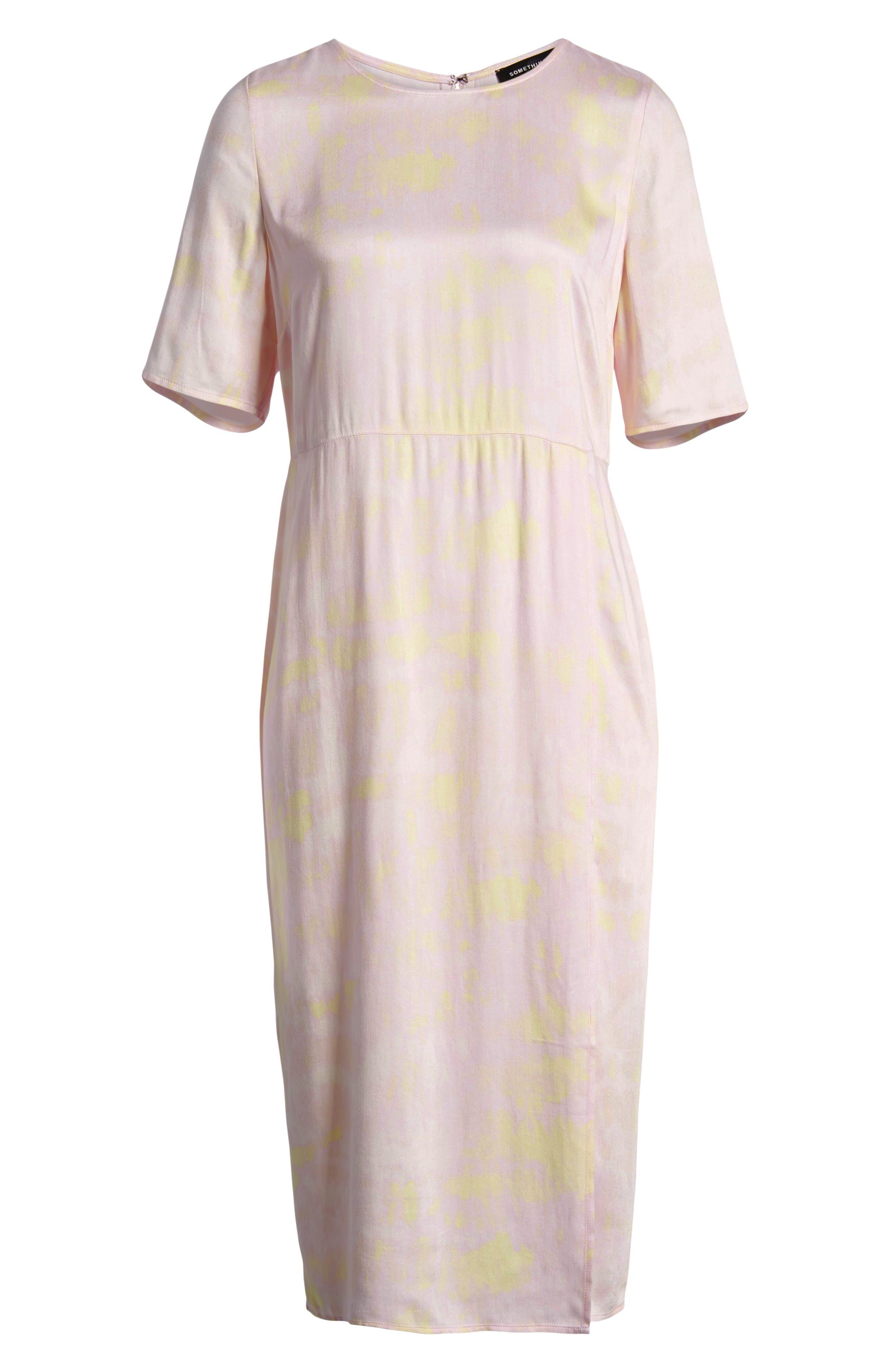 SOMETHING NAVY, Front Slit Midi Dress, Alternate thumbnail 9, color, 680