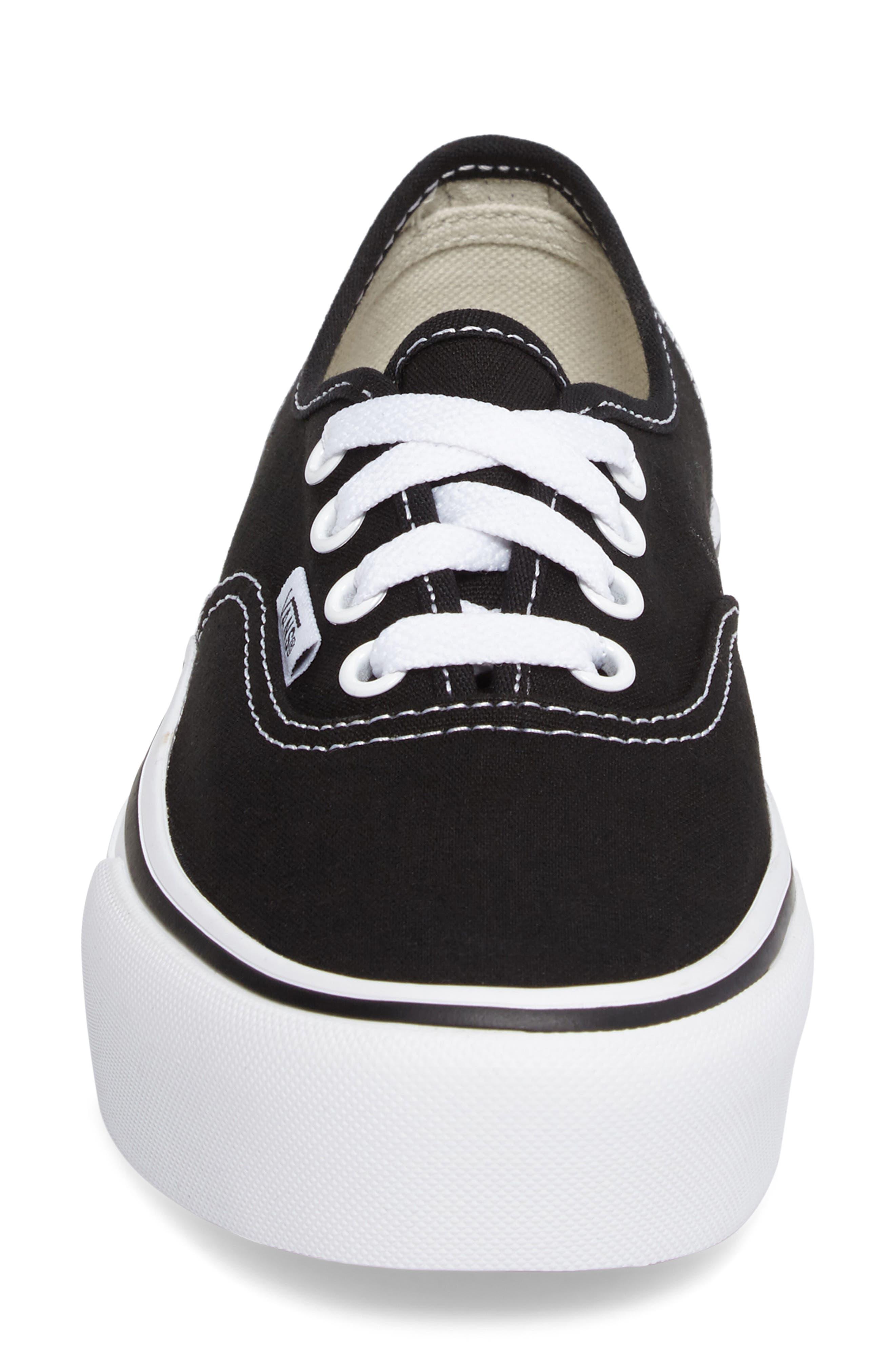 VANS, 'Authentic' Platform Sneaker, Alternate thumbnail 4, color, BLACK/ WHITE
