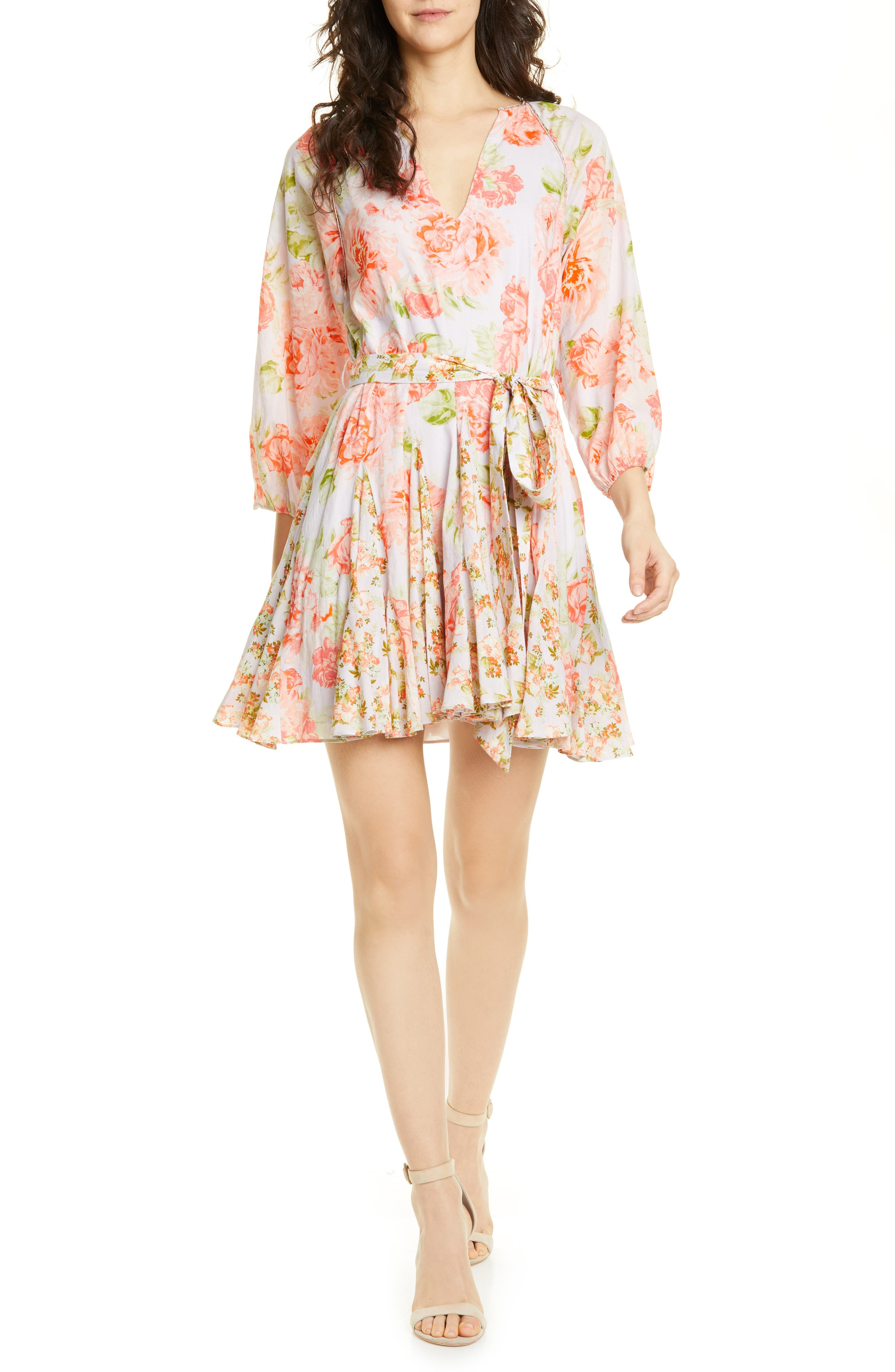 Alice + Olivia Floral Tie Front Cotton Dress, Pink