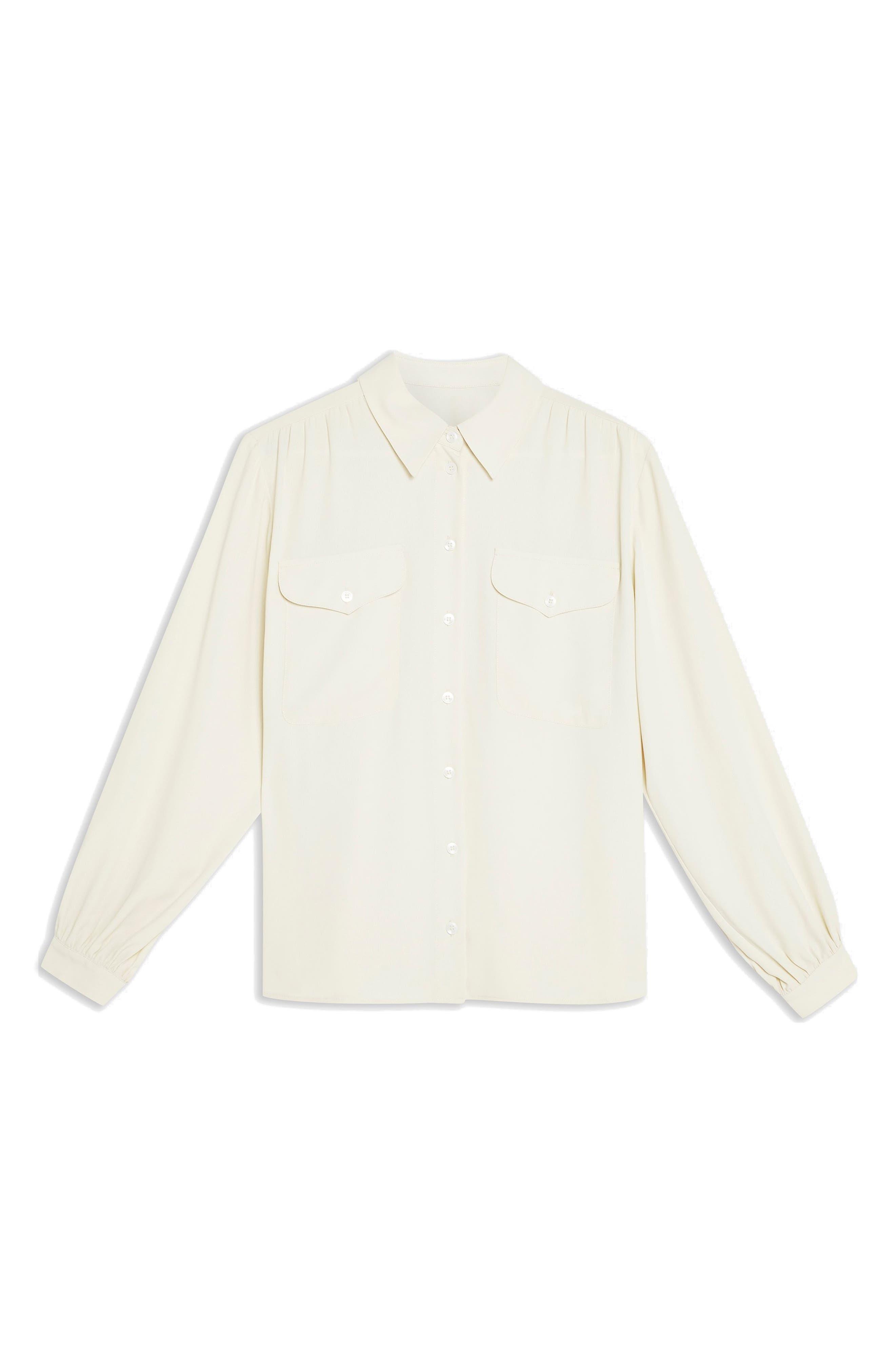 TOPSHOP, Smart Pocket Shirt, Alternate thumbnail 3, color, NUDE
