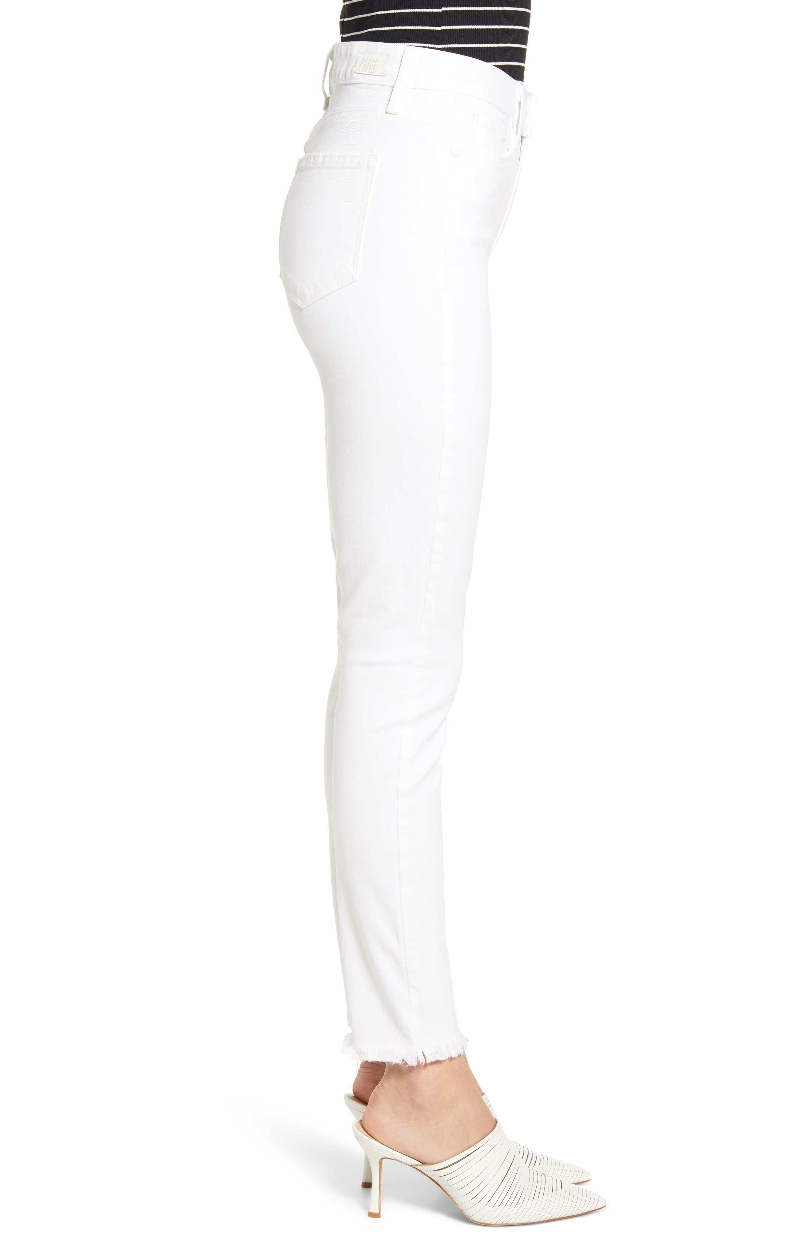 PAIGE, Hoxton High Waist Ankle Skinny Jeans, Alternate thumbnail 4, color, CRISP WHITE