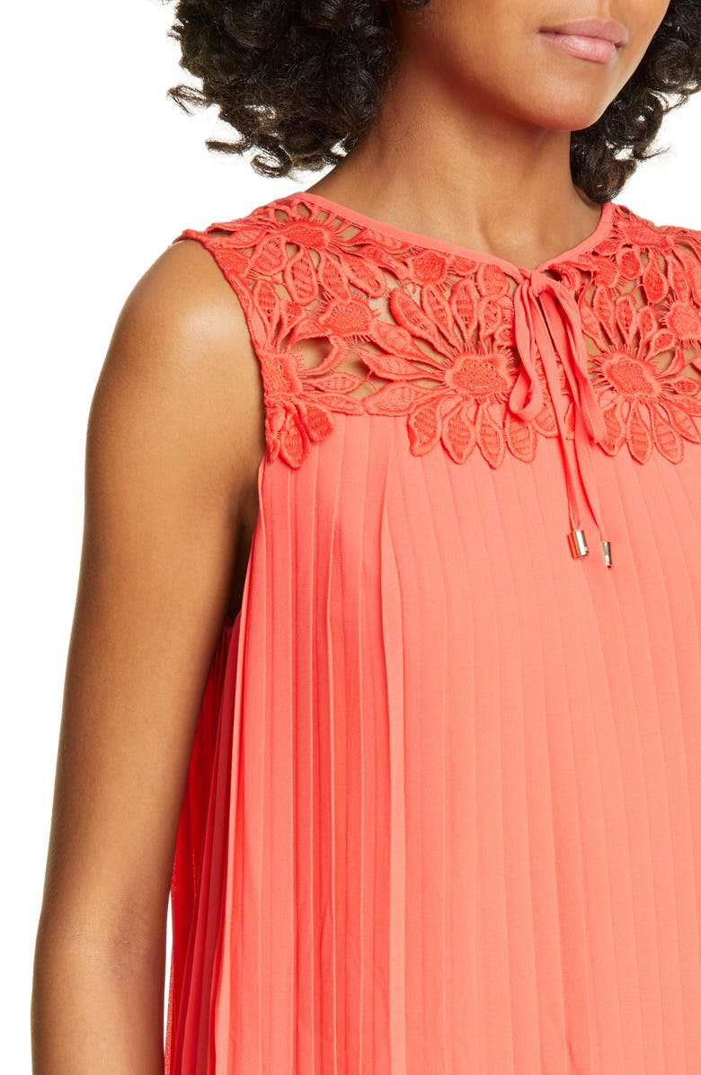 Ted Baker Sherbey Lace Yoke Pleated Sleeveless Blouse In Bright Red