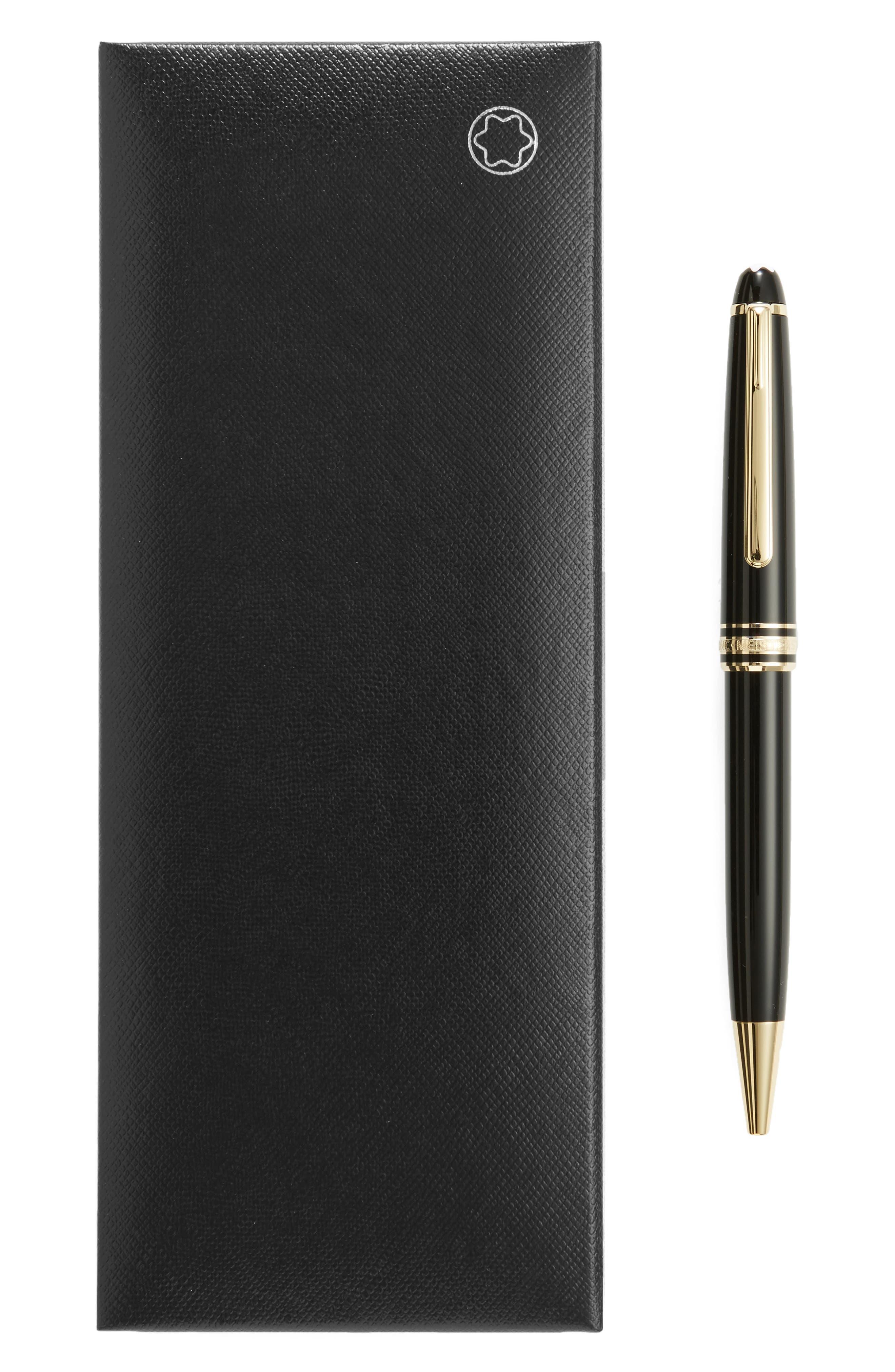 MONTBLANC, Meisterstück Gold Coated Classique Ballpoint Pen, Alternate thumbnail 2, color, BLACK