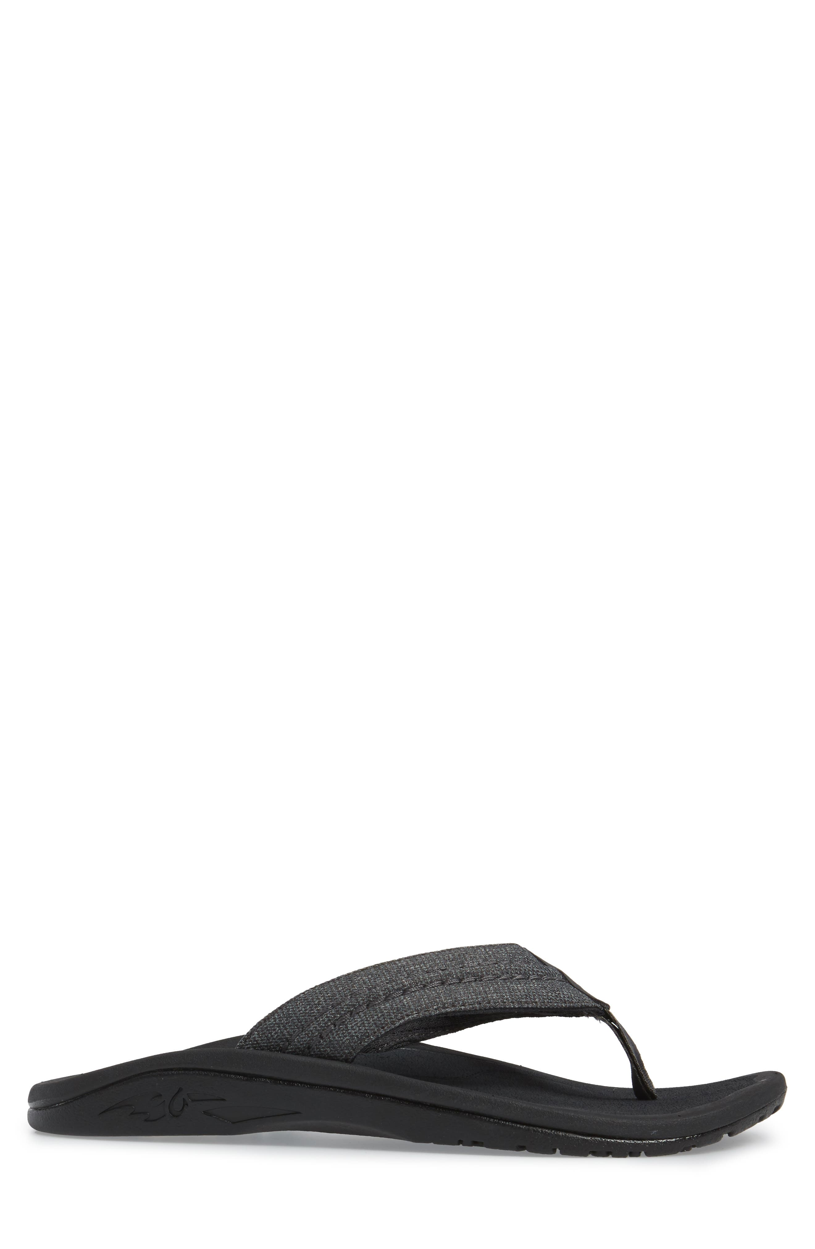 OLUKAI, Hokua Flip Flop, Alternate thumbnail 3, color, DARK SHADOW/ DARK SHADOW