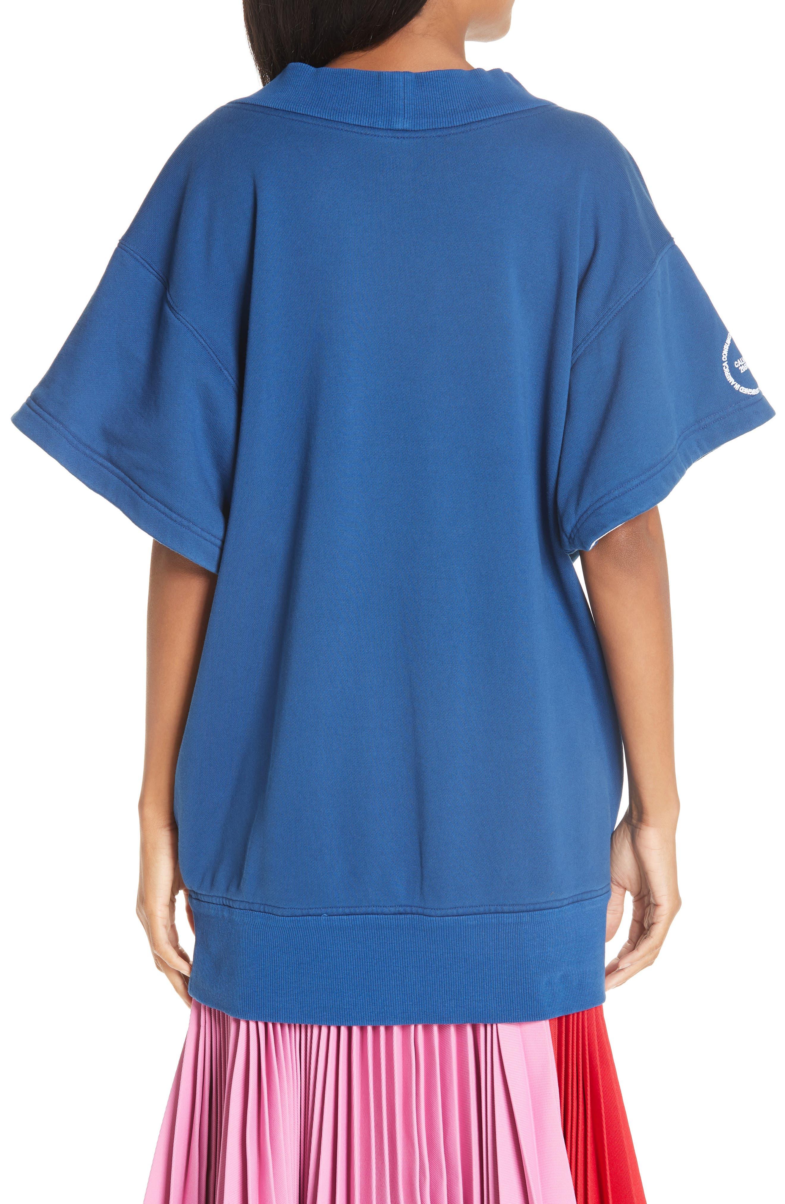 CALVIN KLEIN 205W39NYC, Yale Short Sleeve Sweatshirt, Alternate thumbnail 2, color, YALE BLUE