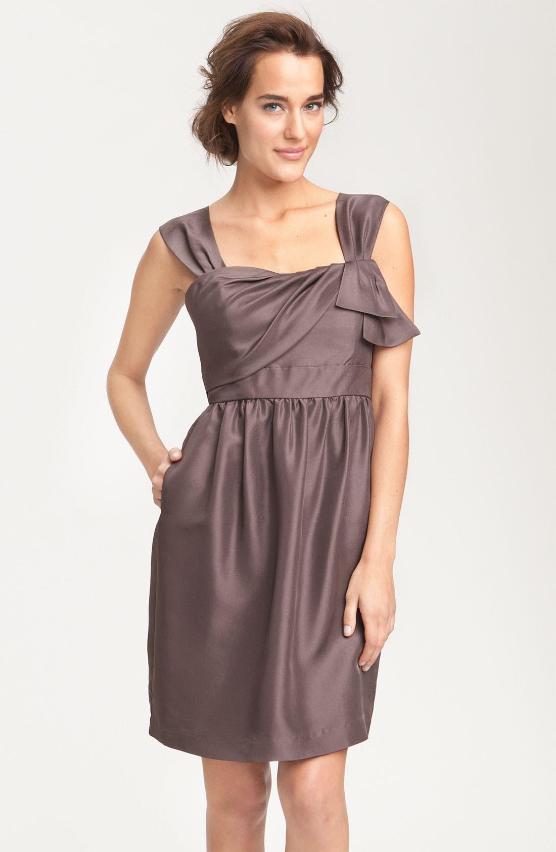 JENNY YOO, Convertible Shantung Dress, Alternate thumbnail 3, color, 020