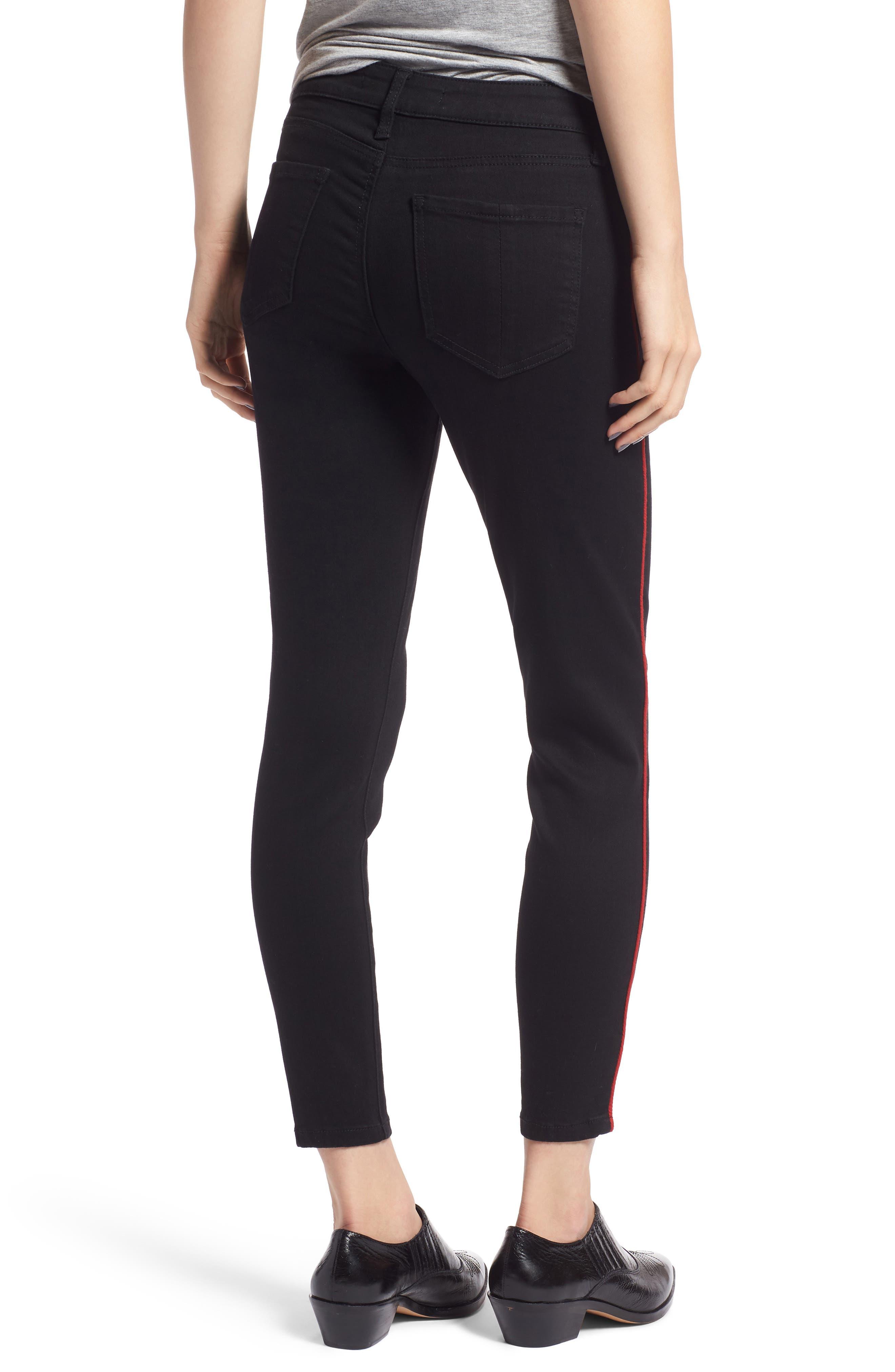 PROSPERITY DENIM, Side Stripe Ankle Skinny Jeans, Alternate thumbnail 2, color, BLACK