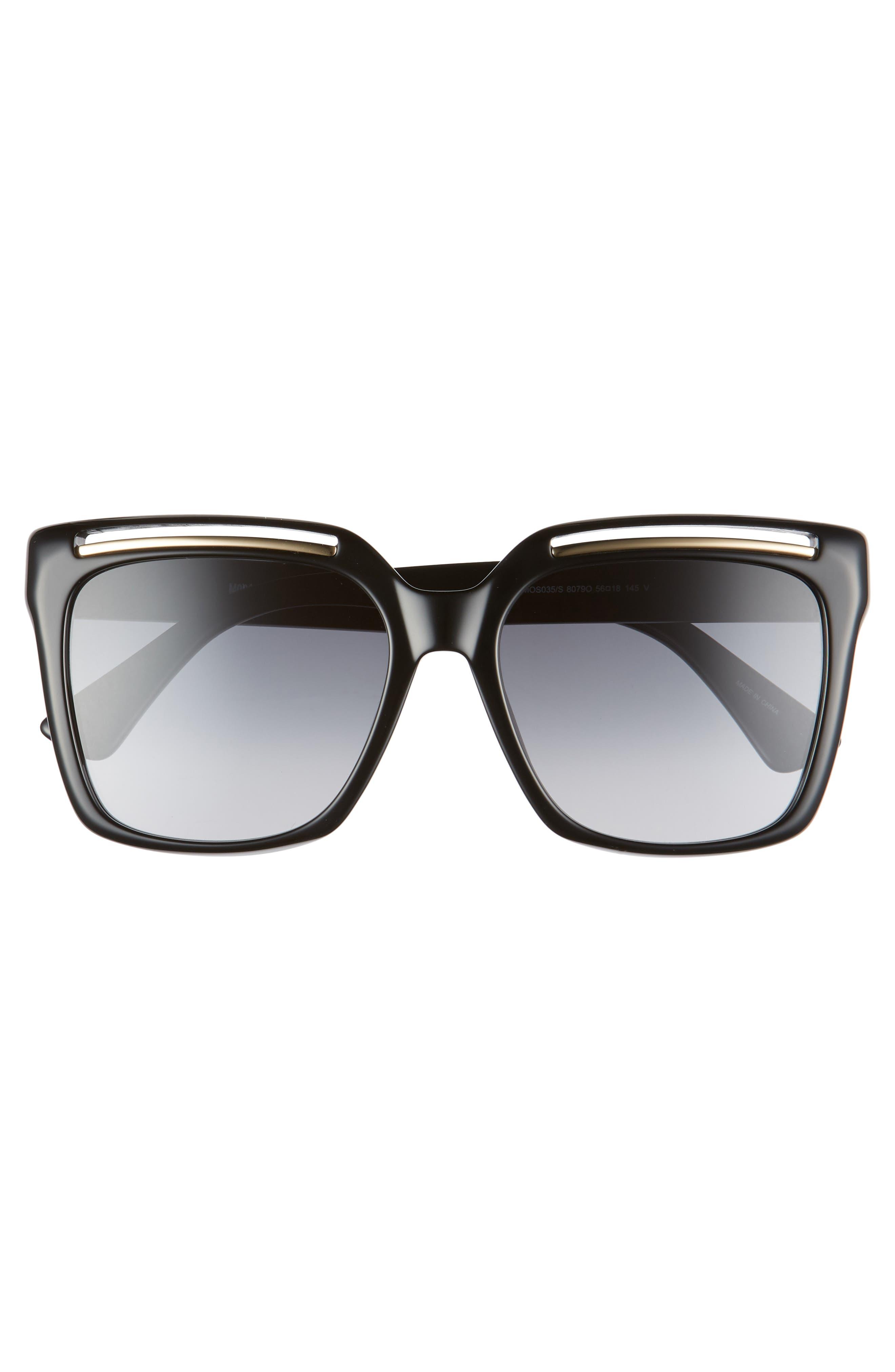 MOSCHINO, 56mm Gradient Square Sunglasses, Alternate thumbnail 3, color, BLACK