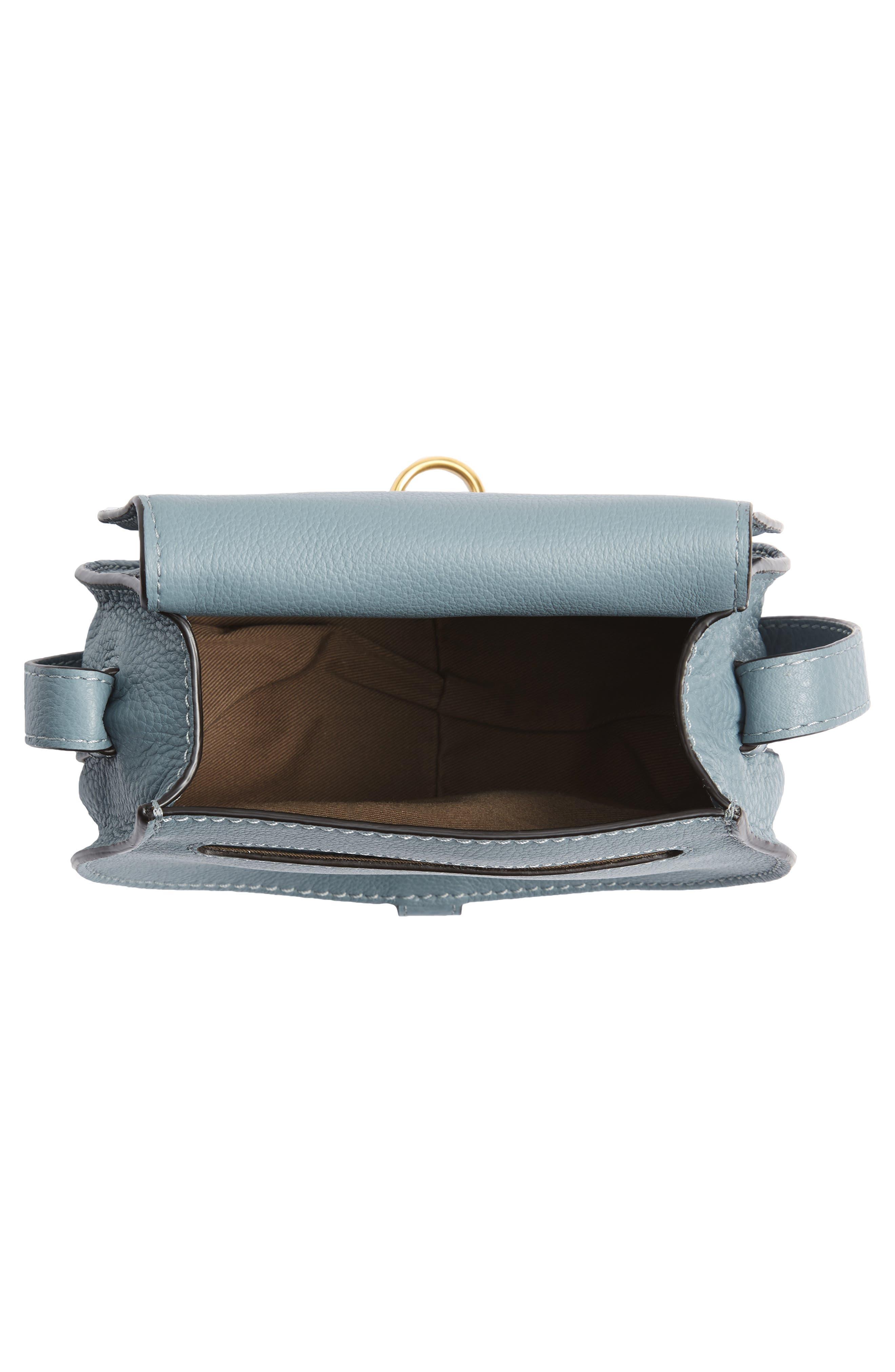 CHLOÉ, 'Mini Marcie' Leather Crossbody Bag, Alternate thumbnail 4, color, BFC CLOUDY BLUE
