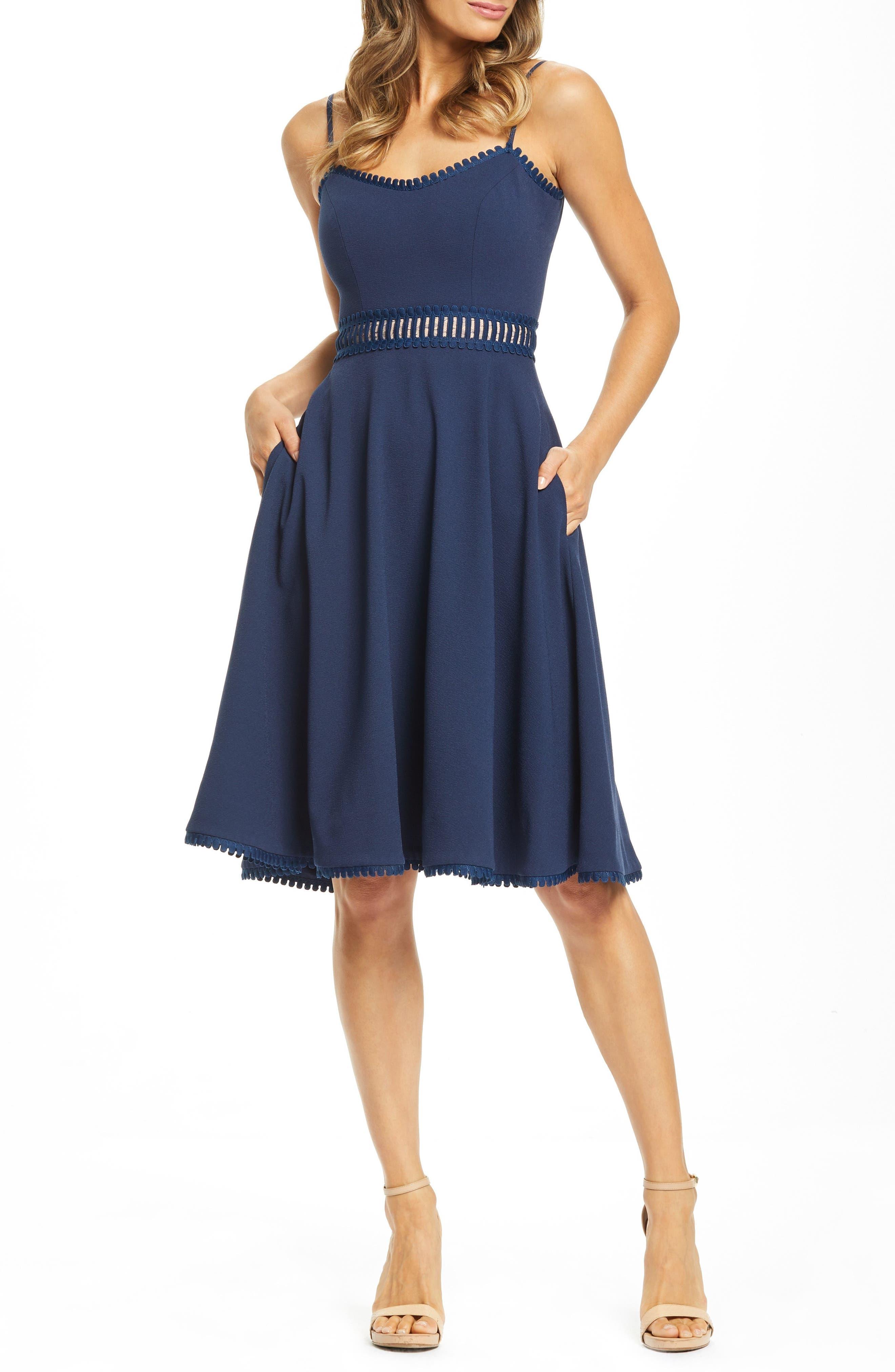 Dress The Population Harlow A-Line Cocktail Dress, Blue