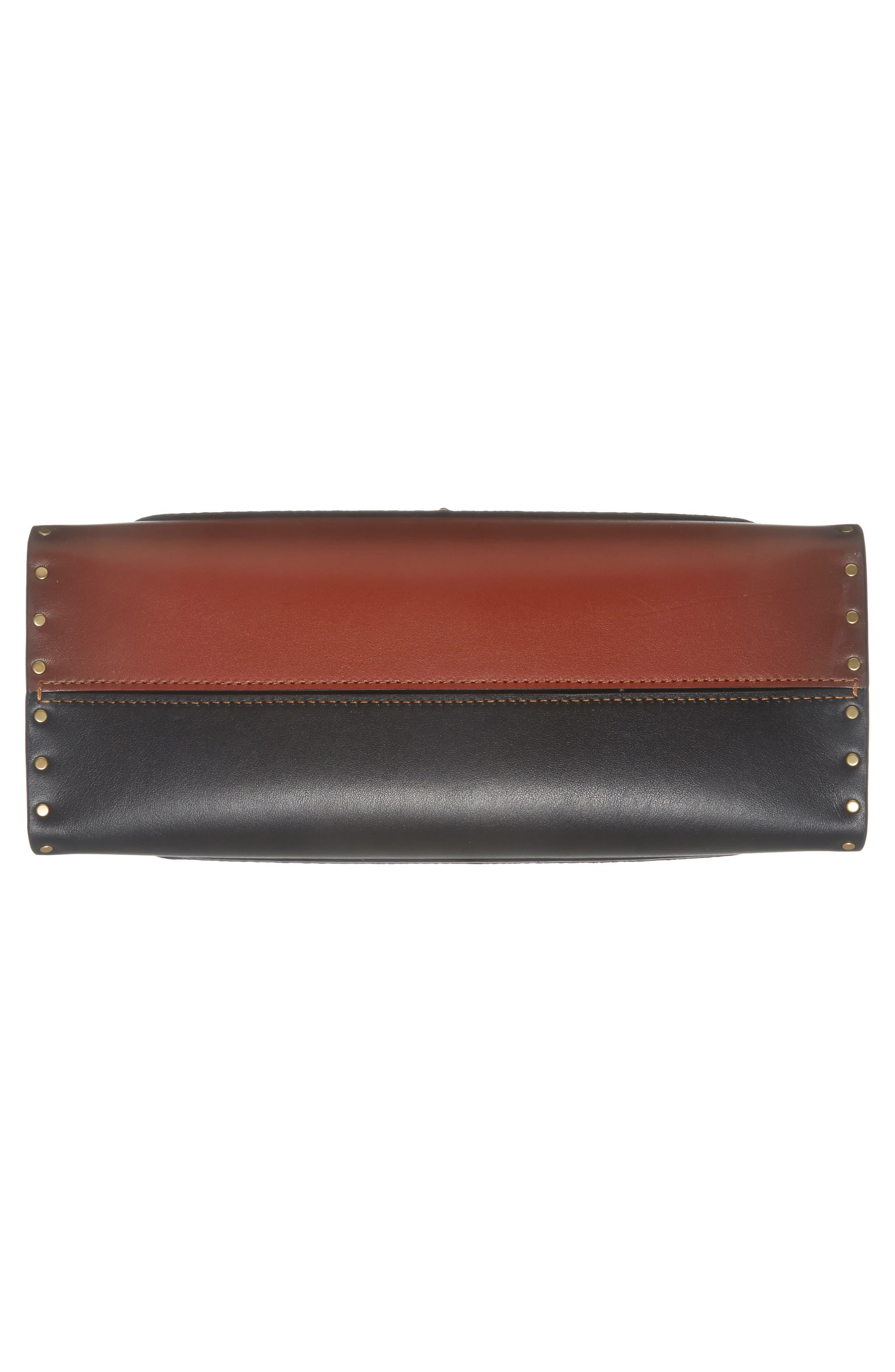 COACH, Parker Leather & Genuine Snakeskin Shoulder Bag, Alternate thumbnail 7, color, BLACK MULTI
