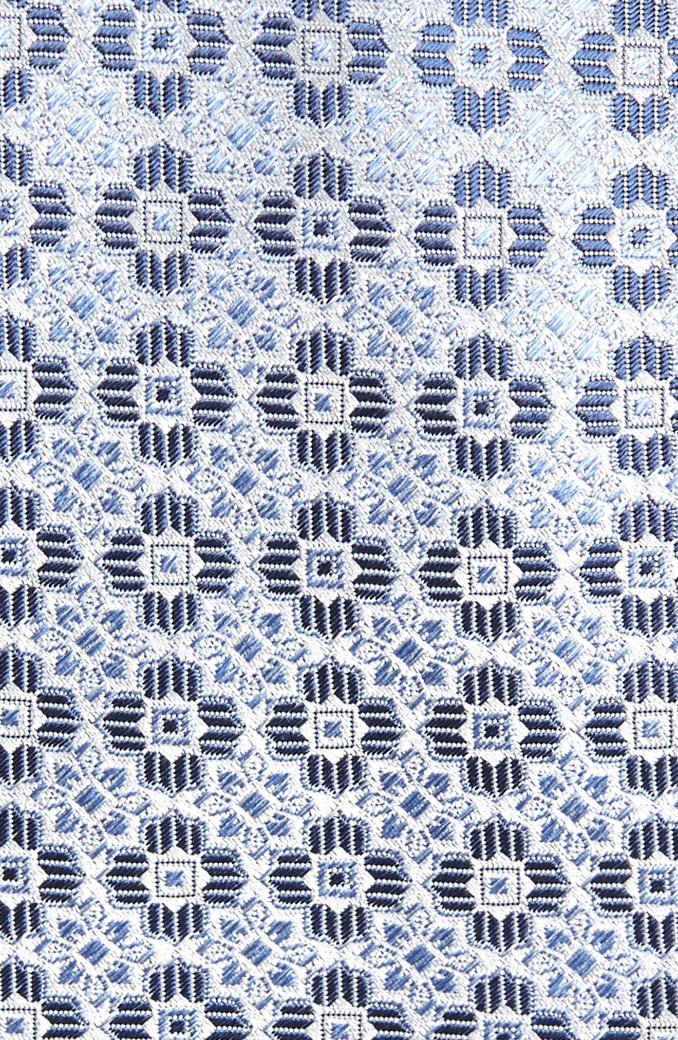 CANALI, Medallion Silk Tie, Alternate thumbnail 2, color, LIGHT BLUE