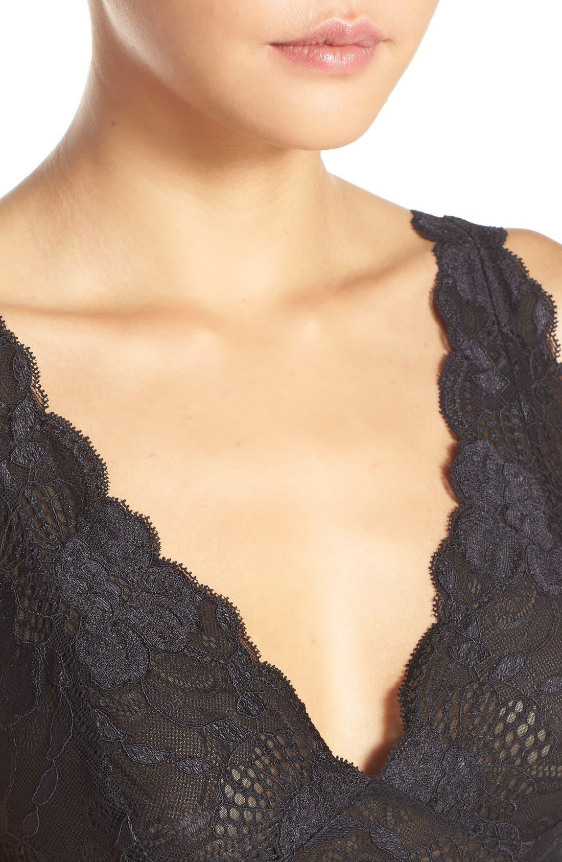 NATORI, 'Zen Floral' Nightgown, Alternate thumbnail 4, color, BLACK