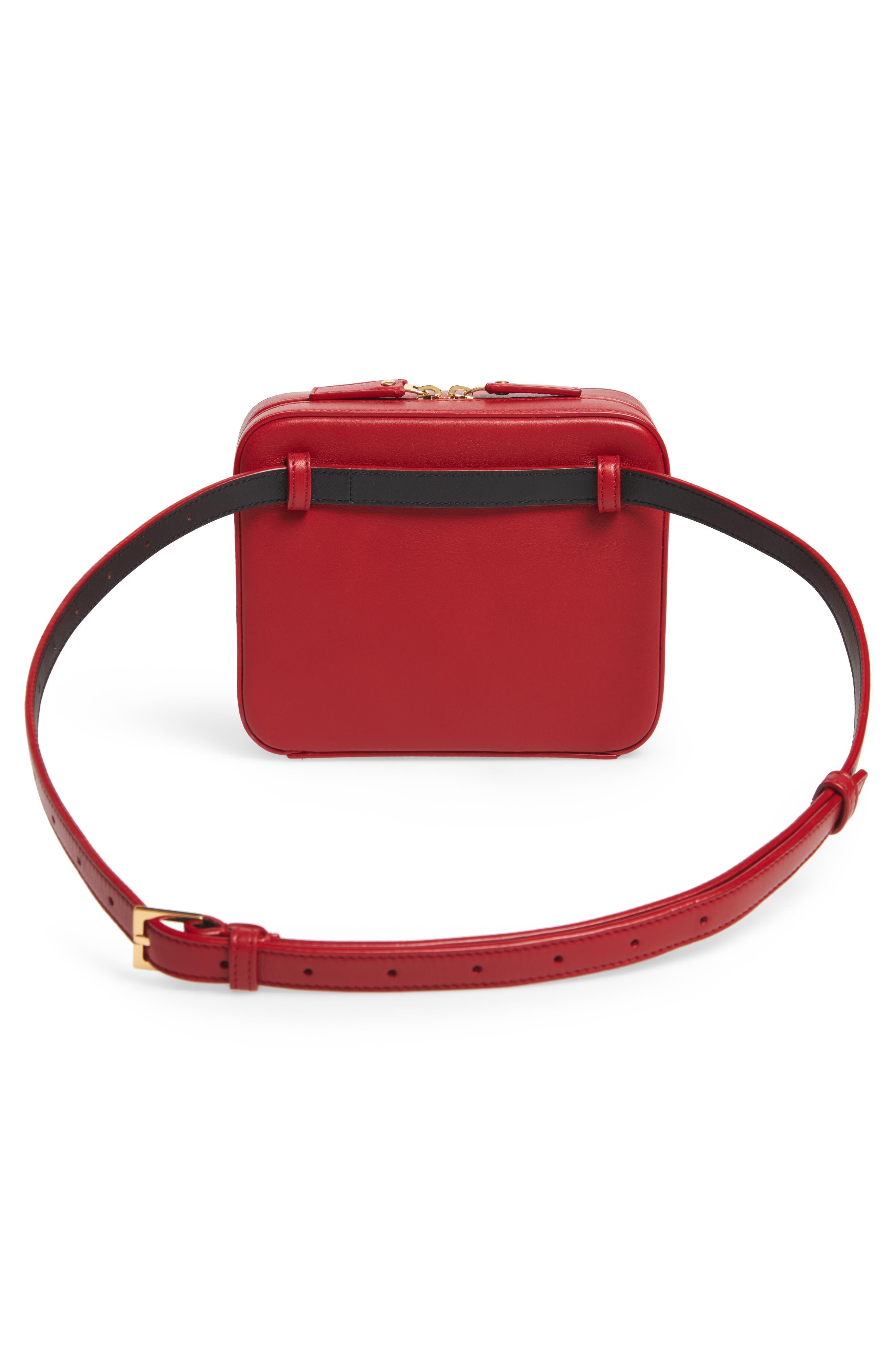 SAINT LAURENT, Vicky Lambskin Leather Belt Bag, Alternate thumbnail 4, color, ROUGE EROS