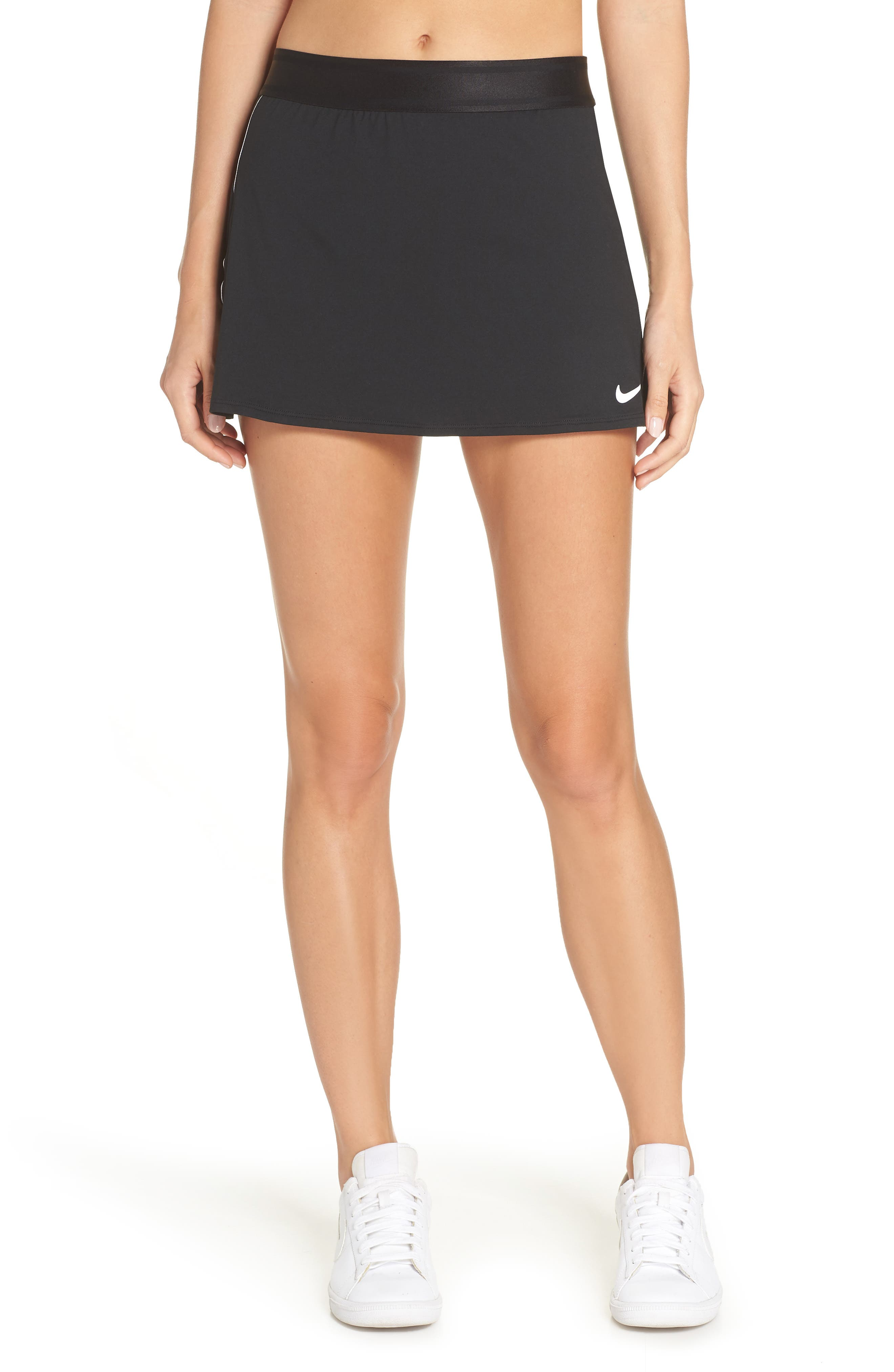 NIKE, Court Dry-FIT Tennis Skirt, Main thumbnail 1, color, BLACK/ WHITE/ WHITE/ BLACK