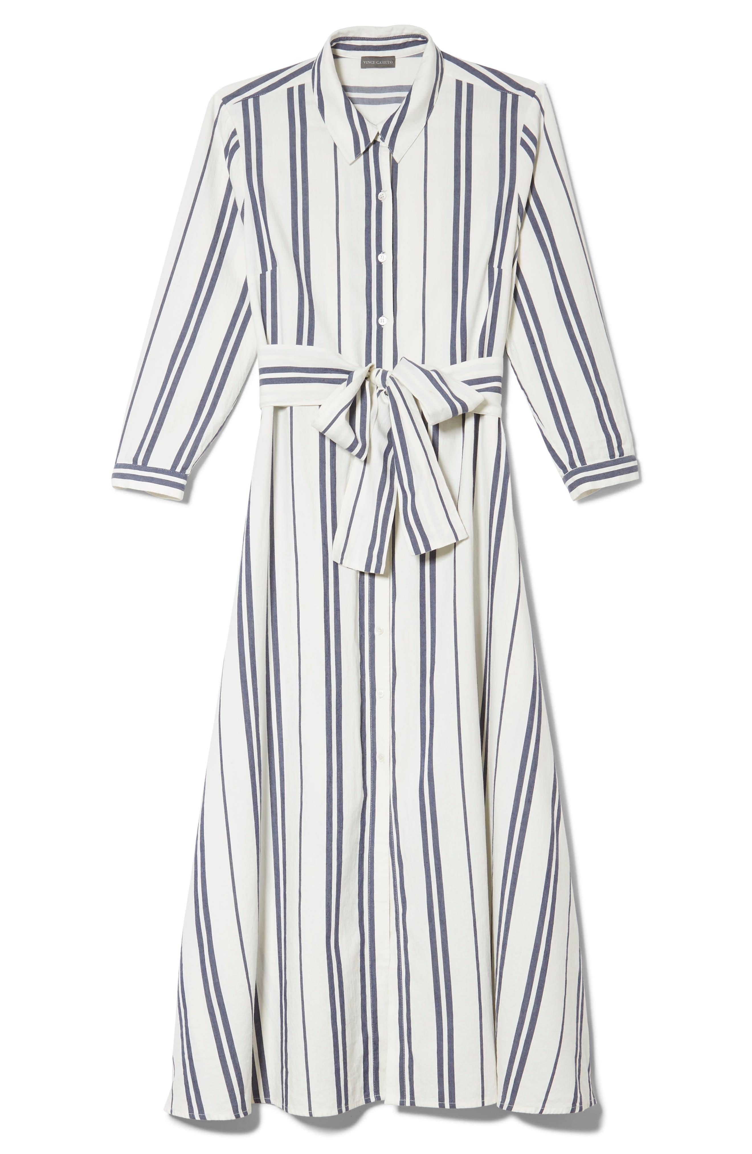 VINCE CAMUTO, Valiant Stripe Midi Shirtdress, Alternate thumbnail 3, color, PEARL IVORY