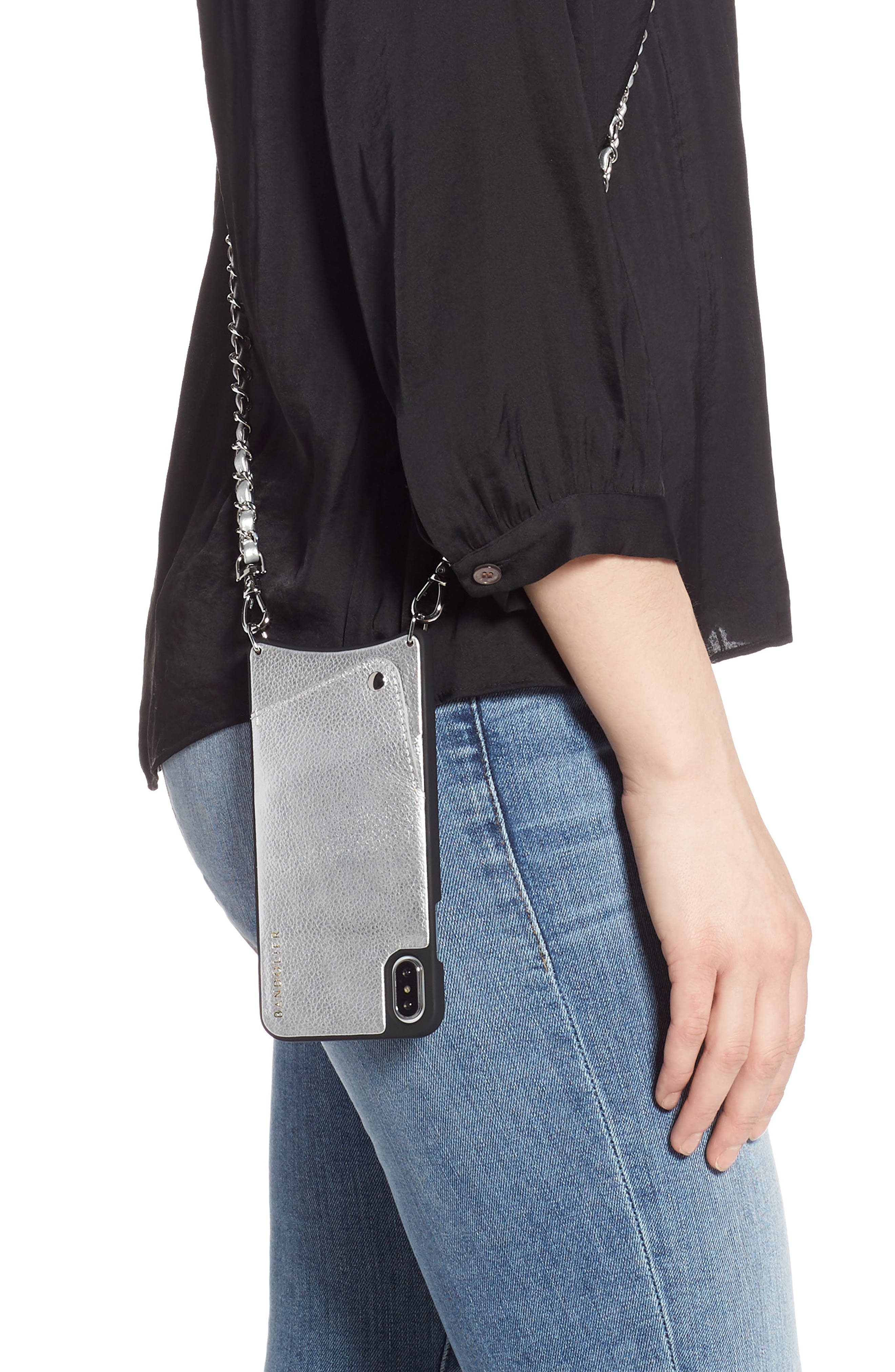 BANDOLIER, Sarah Leather iPhone 8/8 Plus/X/Xs/Xs Max & XR Crossbody Case, Alternate thumbnail 2, color, SILVER/ SILVER