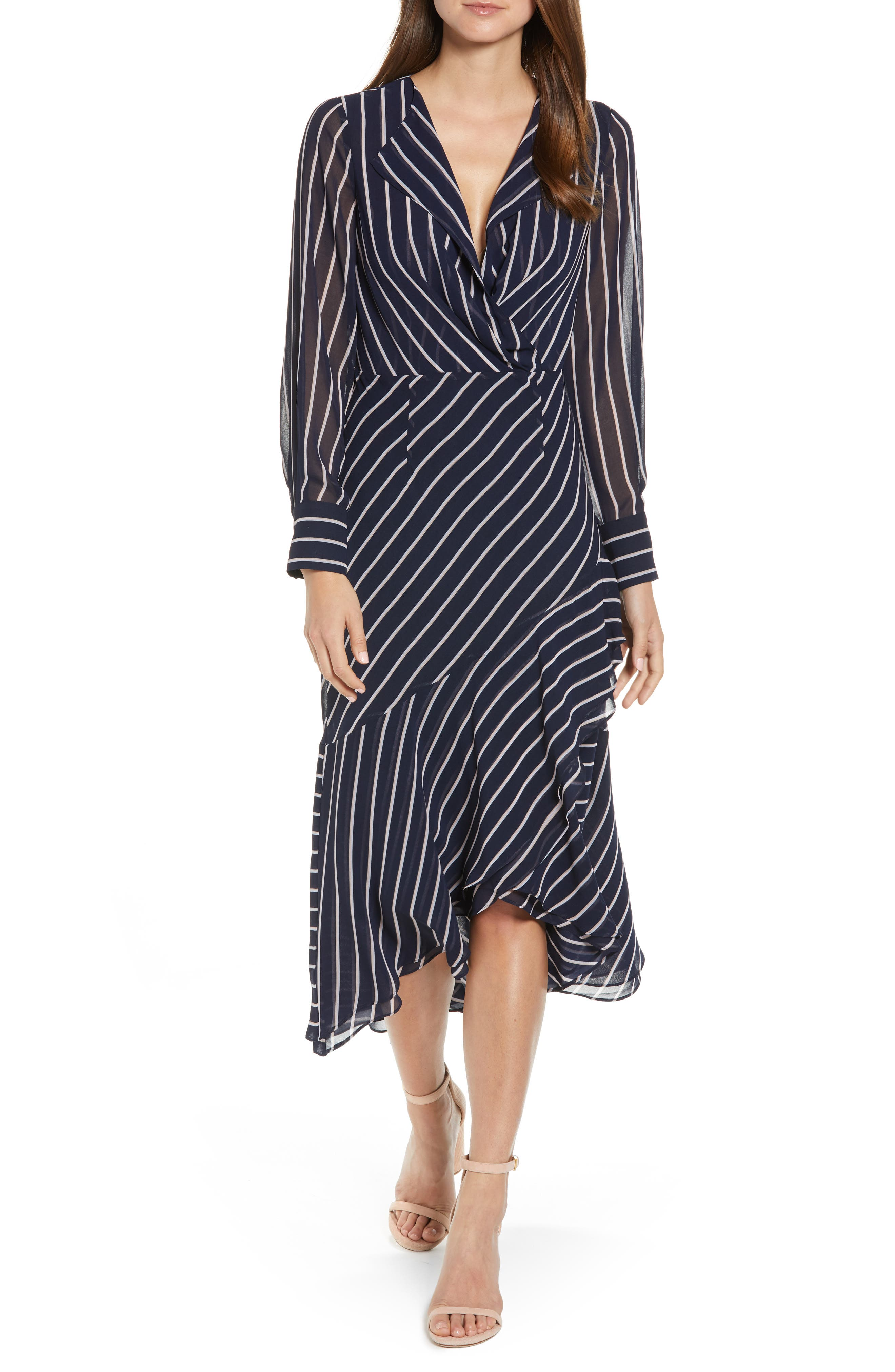 1930s Day Dresses, Afternoon Dresses History Womens Rachel Roy Collection Stripe Print Maxi Dress $139.00 AT vintagedancer.com