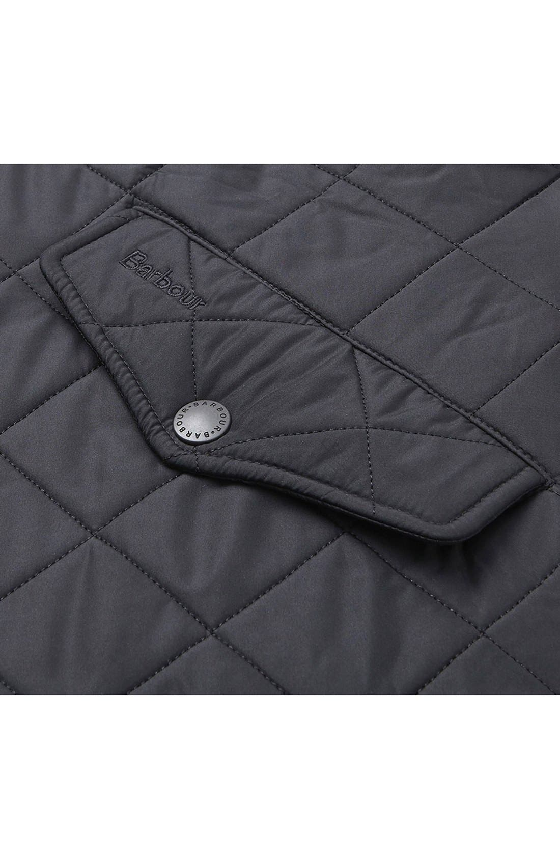 BARBOUR, 'Powell' Regular Fit Quilted Jacket, Alternate thumbnail 5, color, BLACK