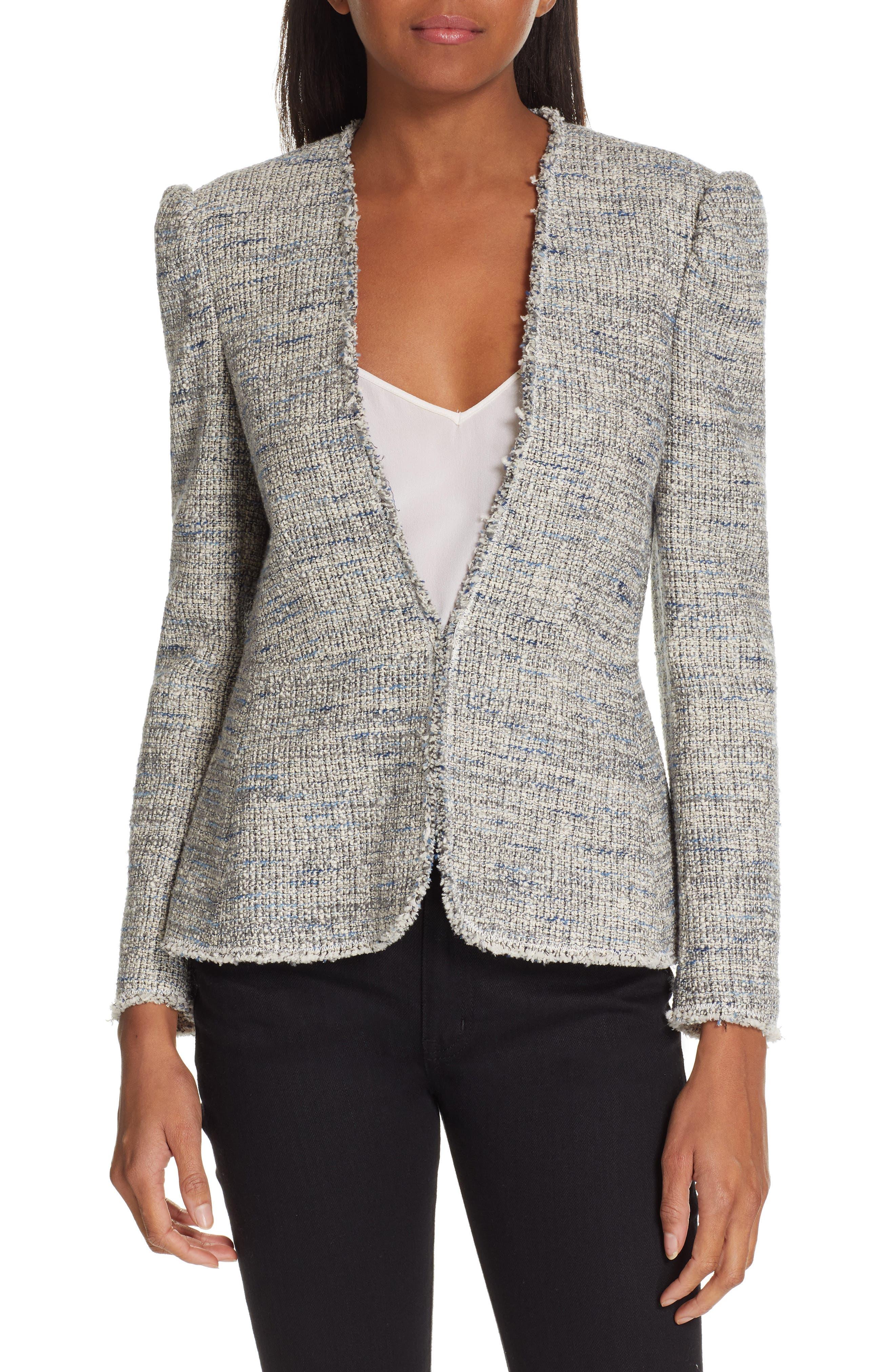 REBECCA TAYLOR, Tweed Peplum Jacket, Main thumbnail 1, color, BLUE/ GREY COMBO