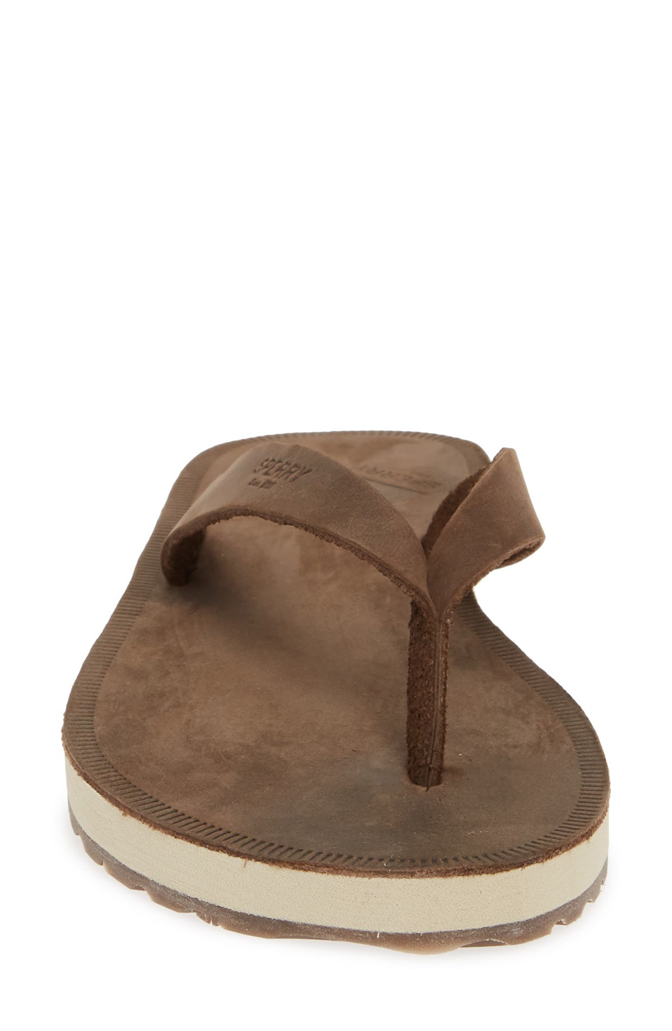 SPERRY, Wharf Flip Flop, Alternate thumbnail 4, color, CHOCOLATE LEATHER