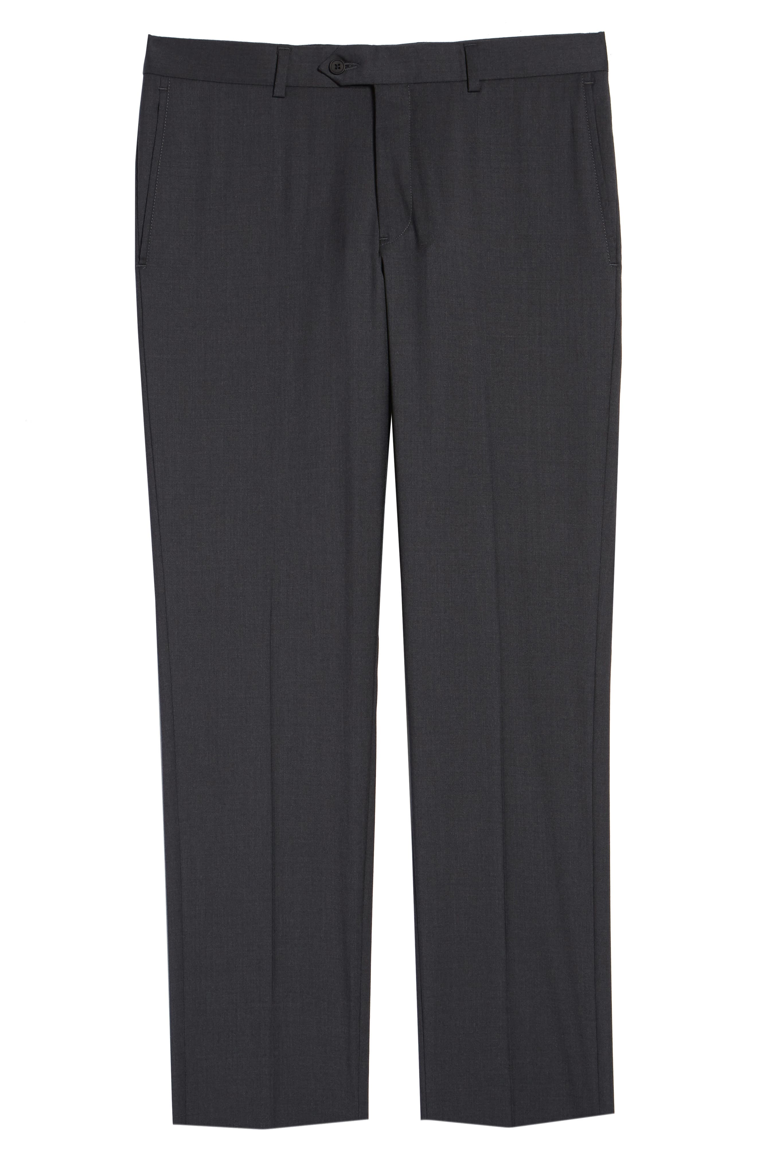NORDSTROM MEN'S SHOP, Trim Fit Stretch Wool Trousers, Alternate thumbnail 6, color, CHARCOAL