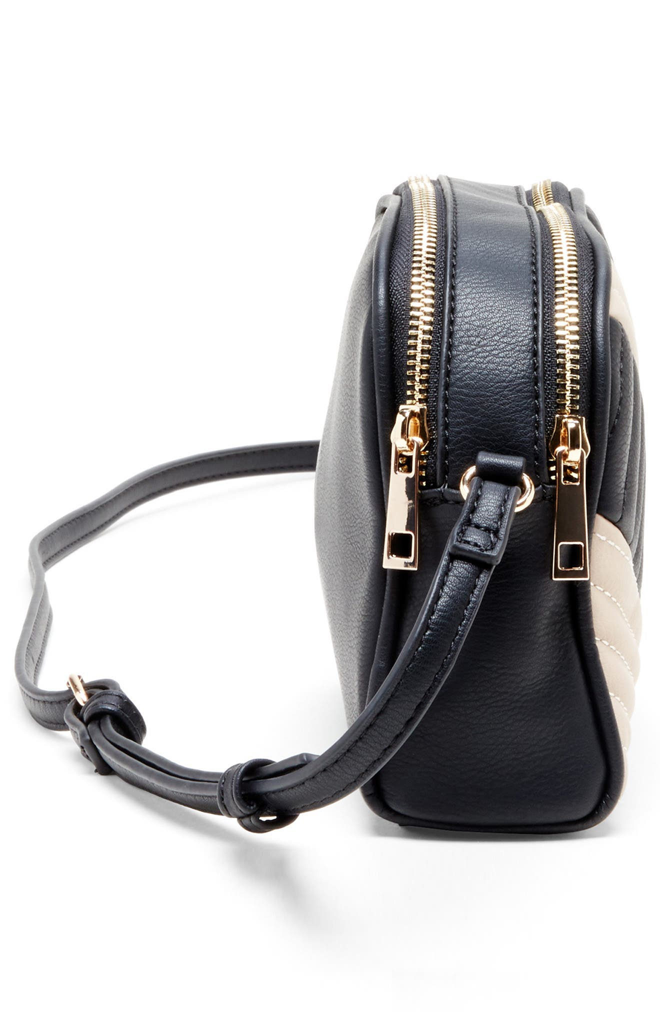 SOLE SOCIETY, Linza Faux Leather Crossbody Bag, Alternate thumbnail 4, color, BLACK/ CREAM