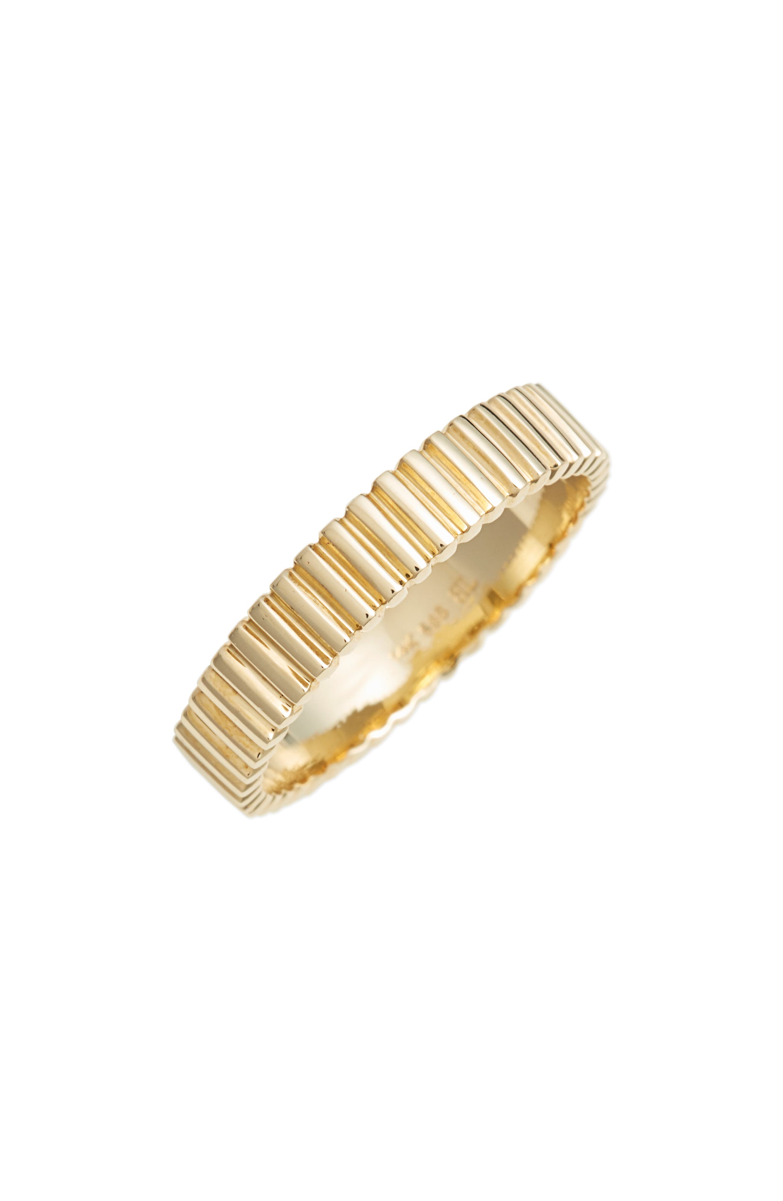 BONY LEVY, Linear Beveled Stackable Ring, Main thumbnail 1, color, YELLOW GOLD