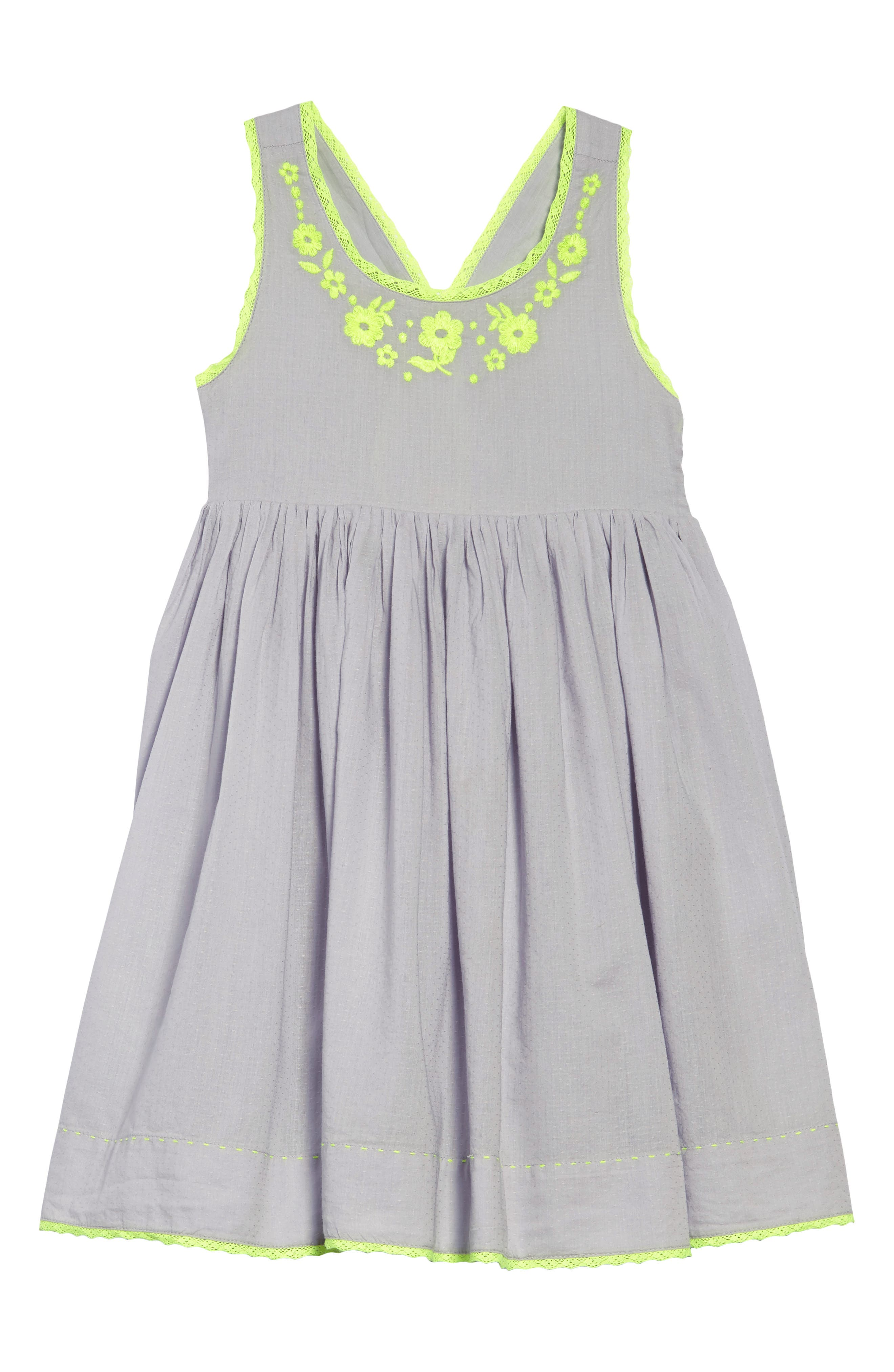 Girls Mini Boden Embroidered Dress Size 910Y  Grey