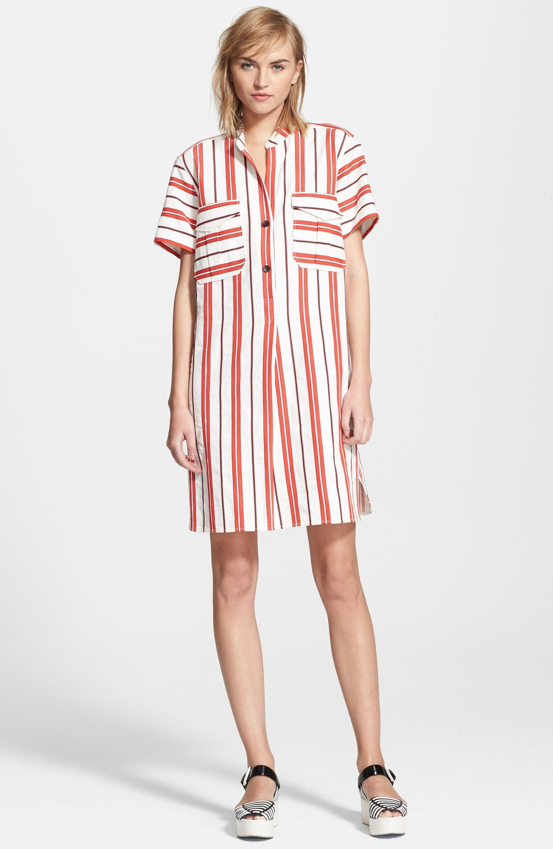 CREATURES OF THE WIND, 'Danae' Stripe Cotton Linen Shirtdress, Main thumbnail 1, color, 601