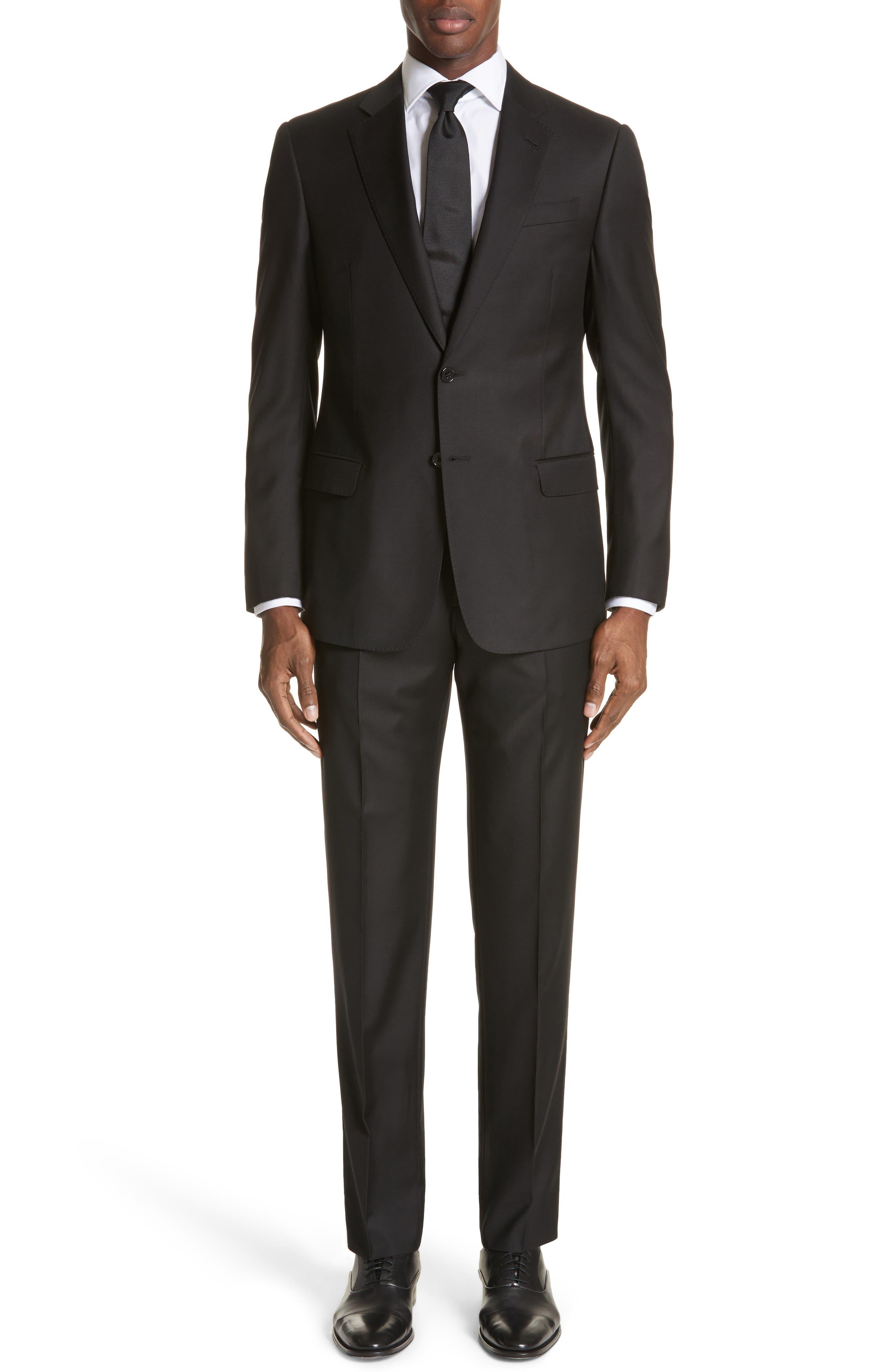 EMPORIO ARMANI, Trim Fit Solid Wool Suit, Main thumbnail 1, color, BLACK