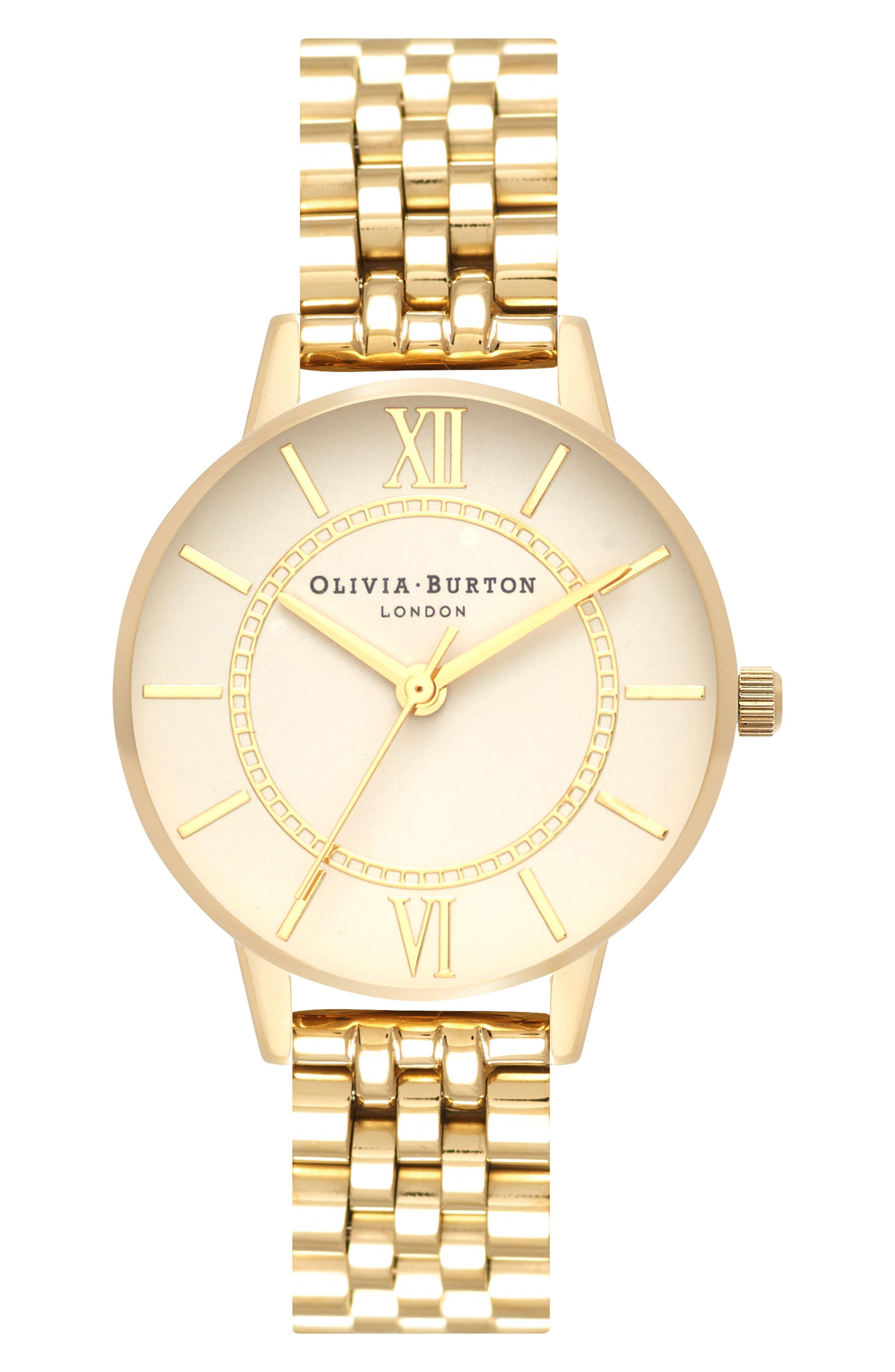 OLIVIA BURTON, Wonderland Bracelet Watch, 30mm, Main thumbnail 1, color, GOLD/ NUDE/ GOLD