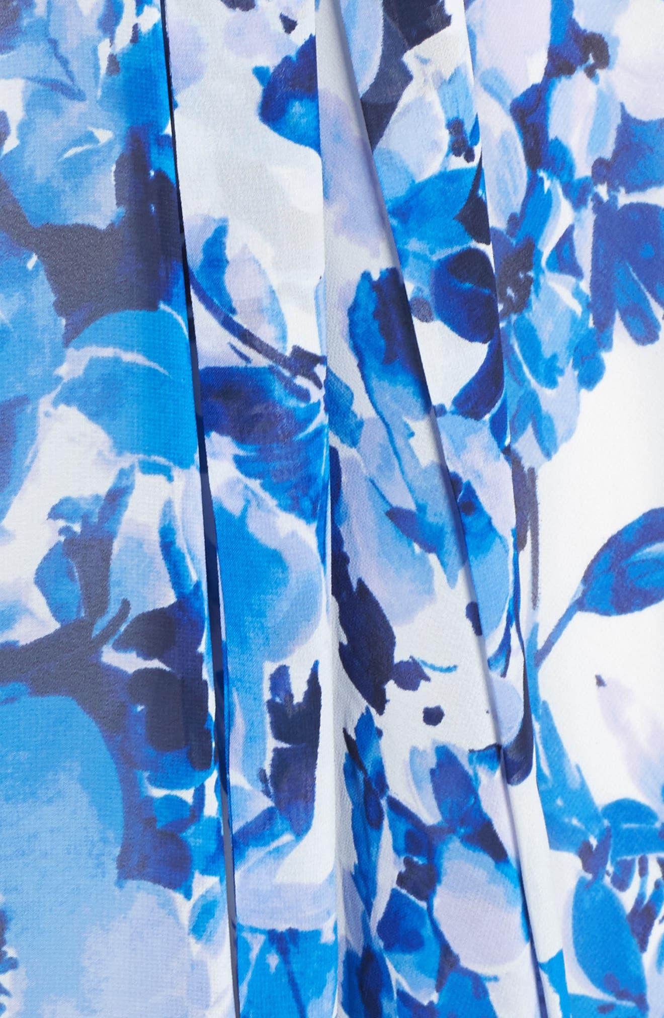 ELIZA J, Floral Ruffle High/Low Maxi Dress, Alternate thumbnail 6, color, BLUE
