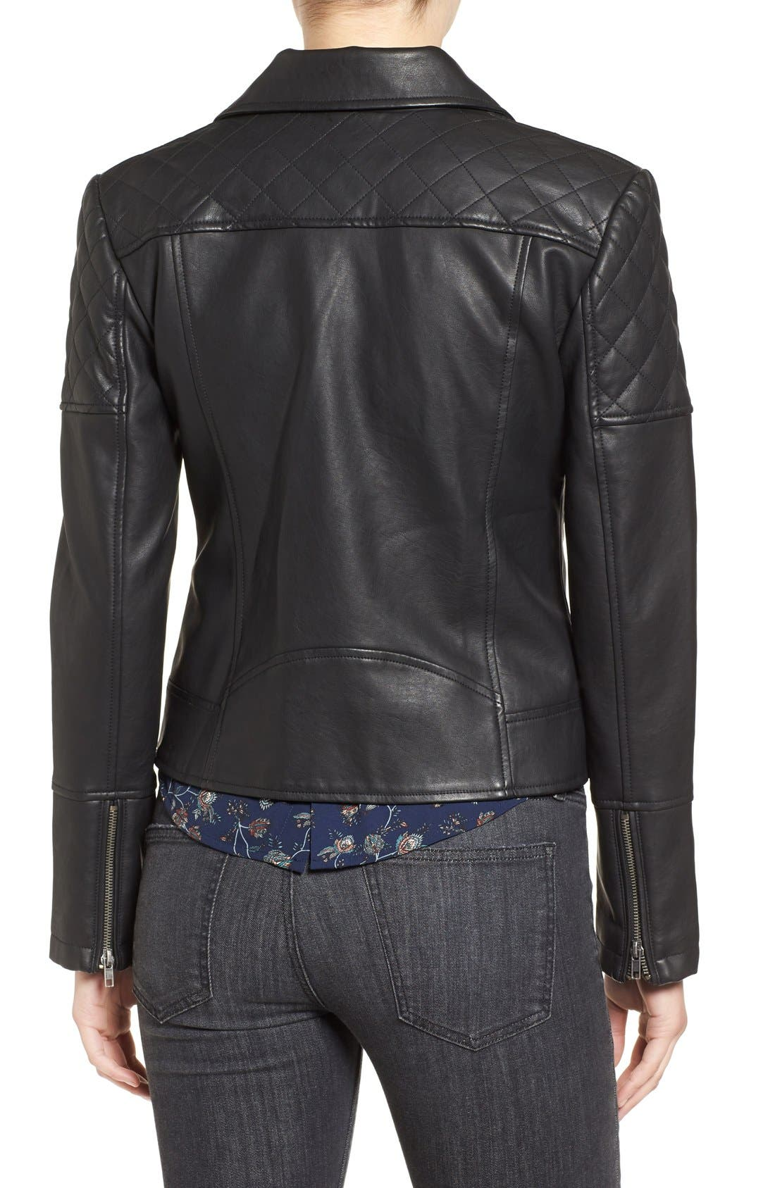 CUPCAKES AND CASHMERE, 'Breck' Faux Leather Moto Jacket, Alternate thumbnail 3, color, 001