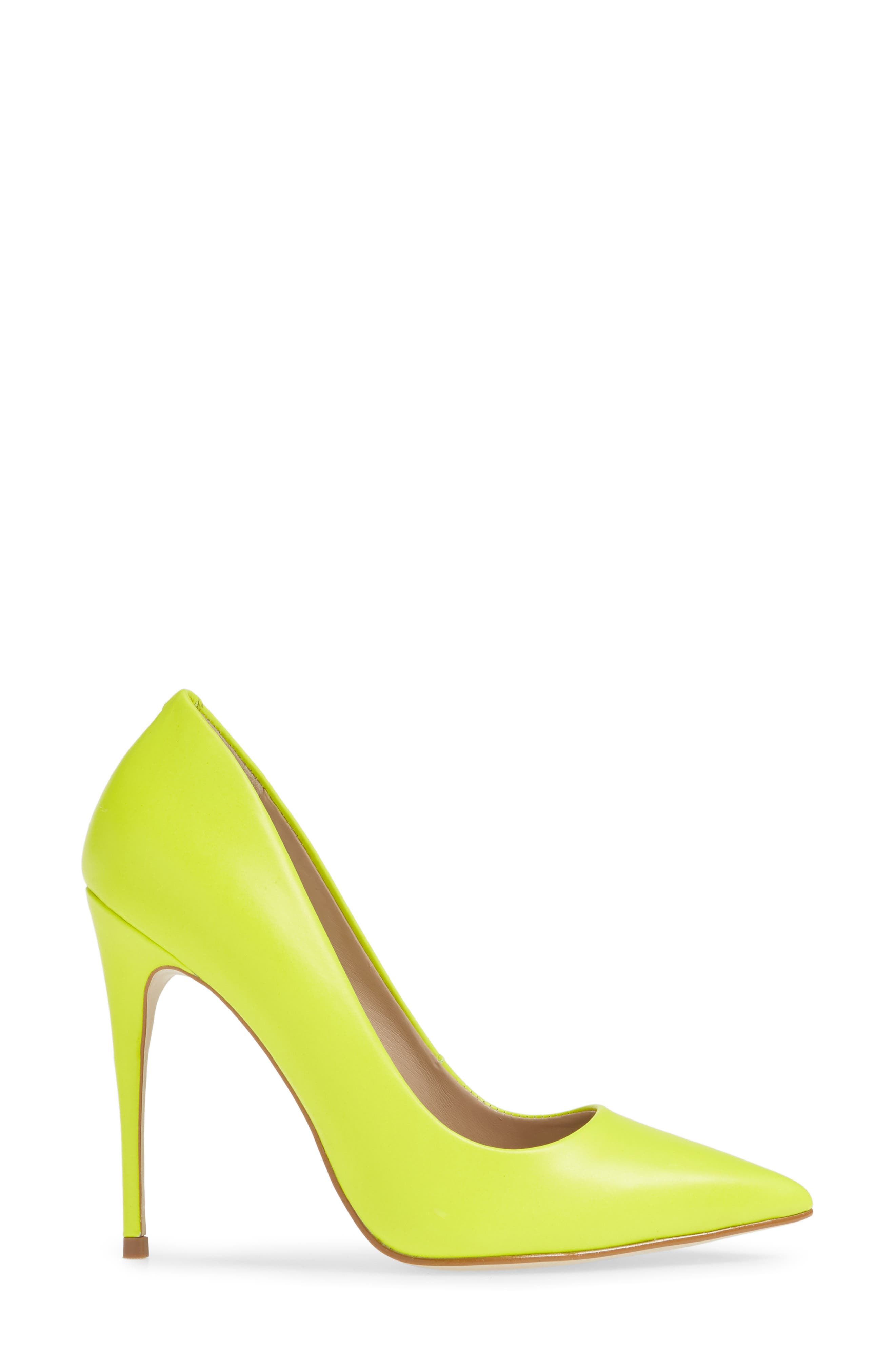 STEVE MADDEN, Daisie Pointy-Toe Pump, Alternate thumbnail 3, color, LIME