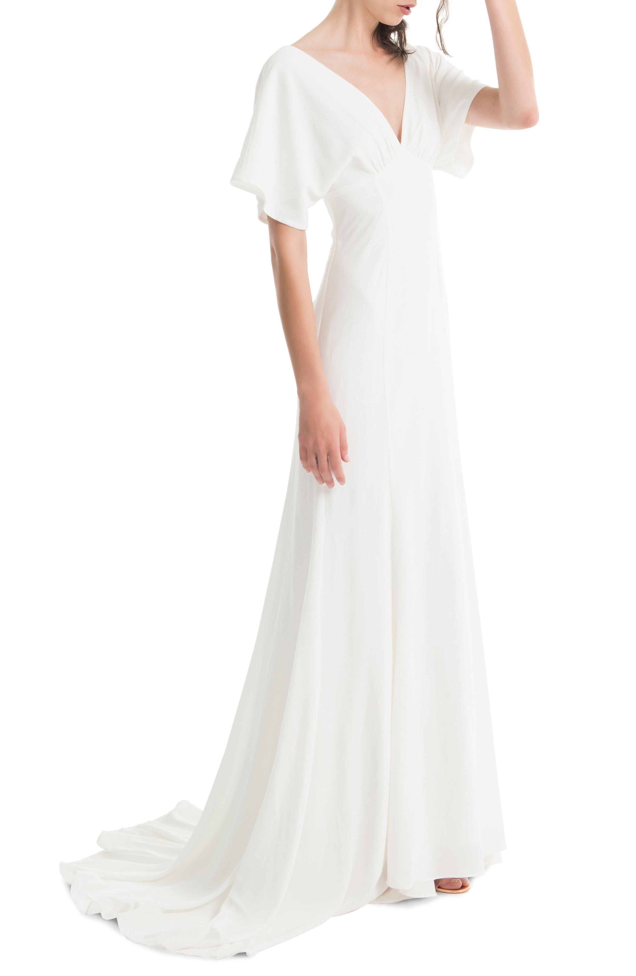 JOANNA AUGUST, Pattie Empire Waist Crepe Gown, Alternate thumbnail 3, color, WHITE