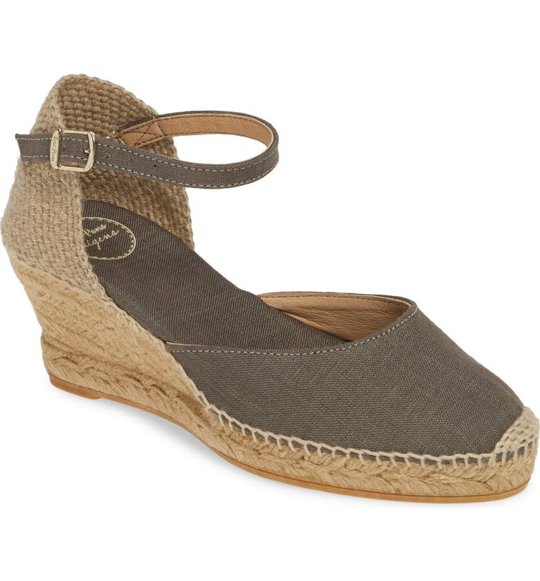 TONI PONS 'Caldes' Linen Wedge Sandal, Main, color, KHAKI FABRIC