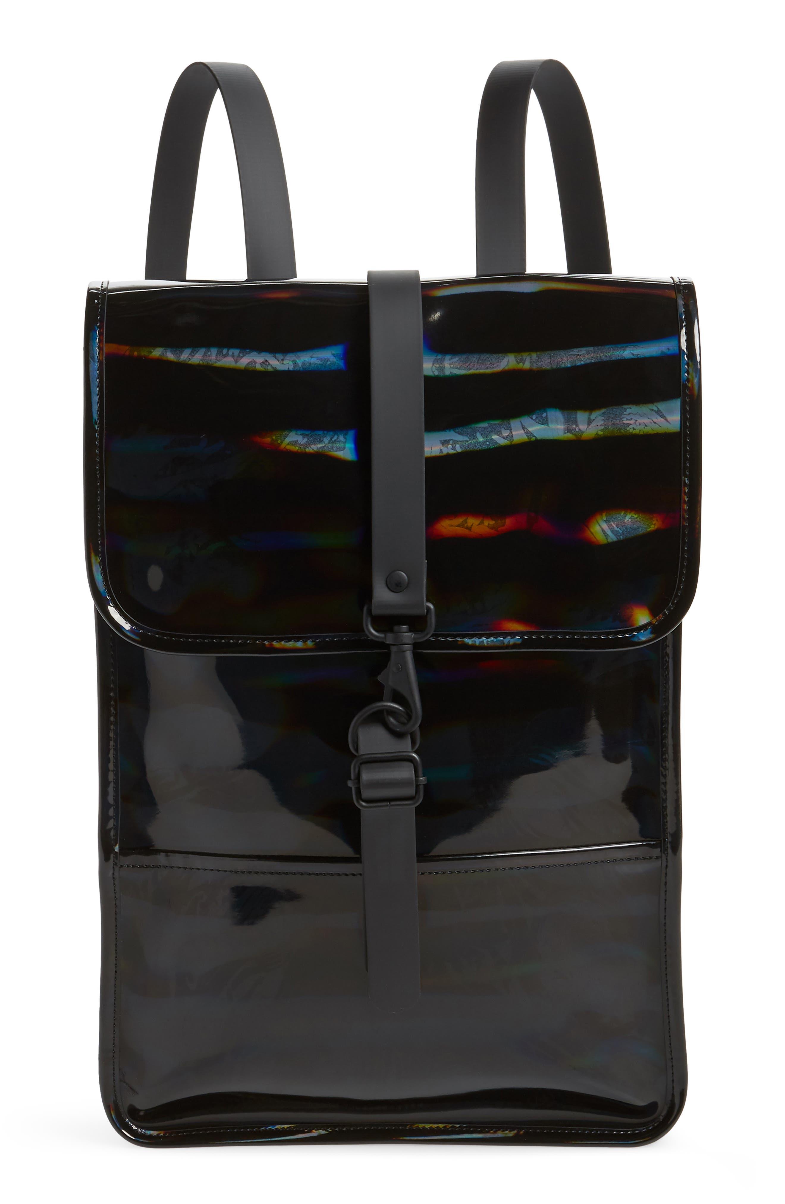 RAINS Mini Waterproof Holographic Backpack, Main, color, BLACK