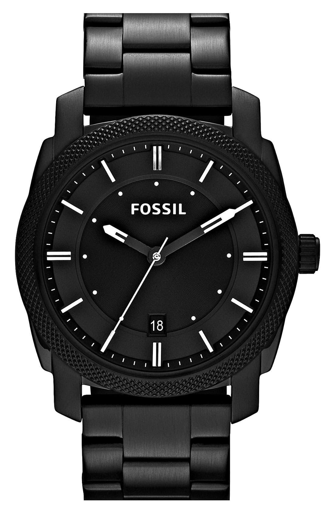 FOSSIL, 'Machine' Bracelet Watch, 42mm, Main thumbnail 1, color, BLACK