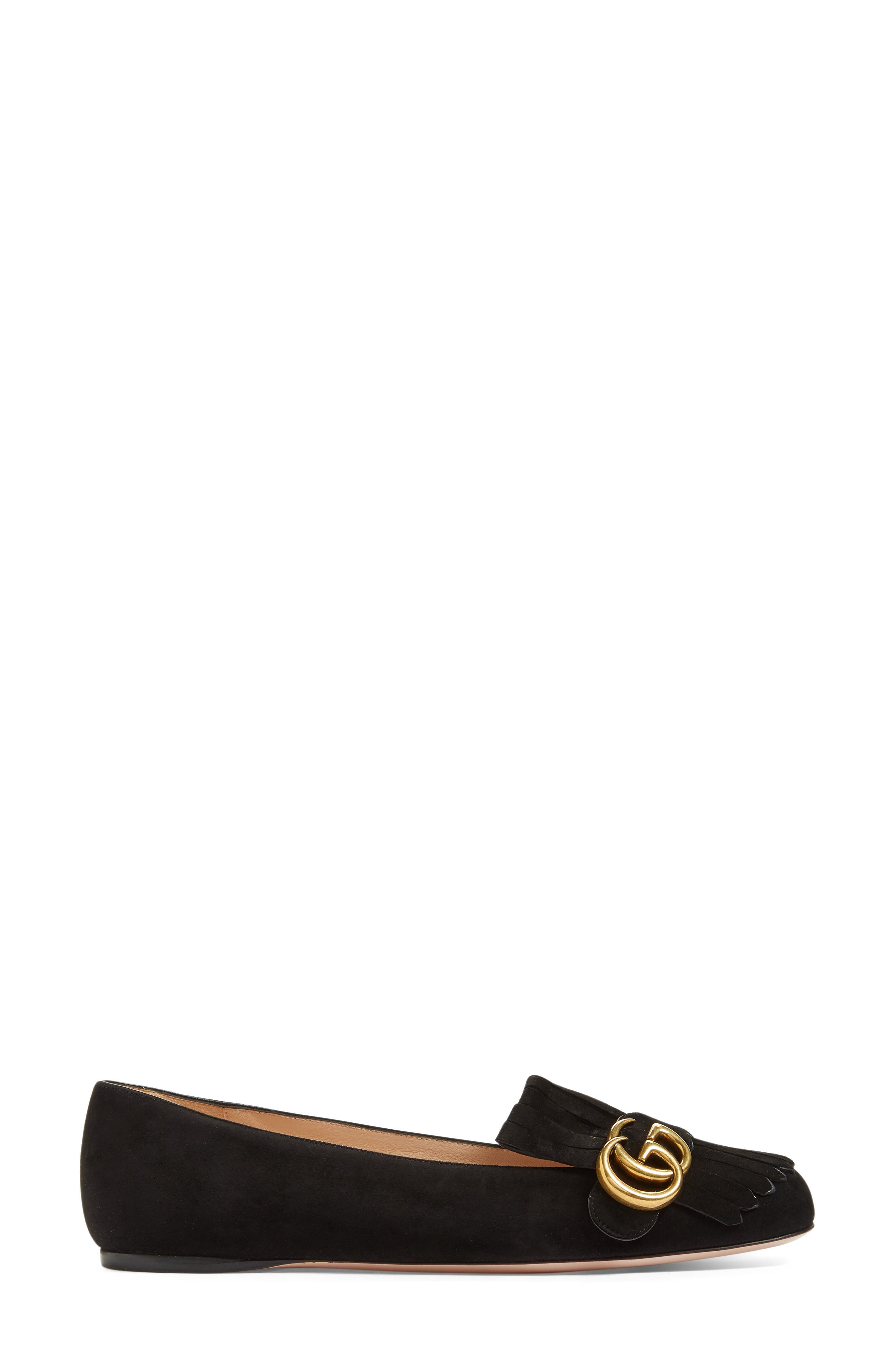 GUCCI, GG Marmont Fringe Flat, Alternate thumbnail 3, color, BLACK SUEDE