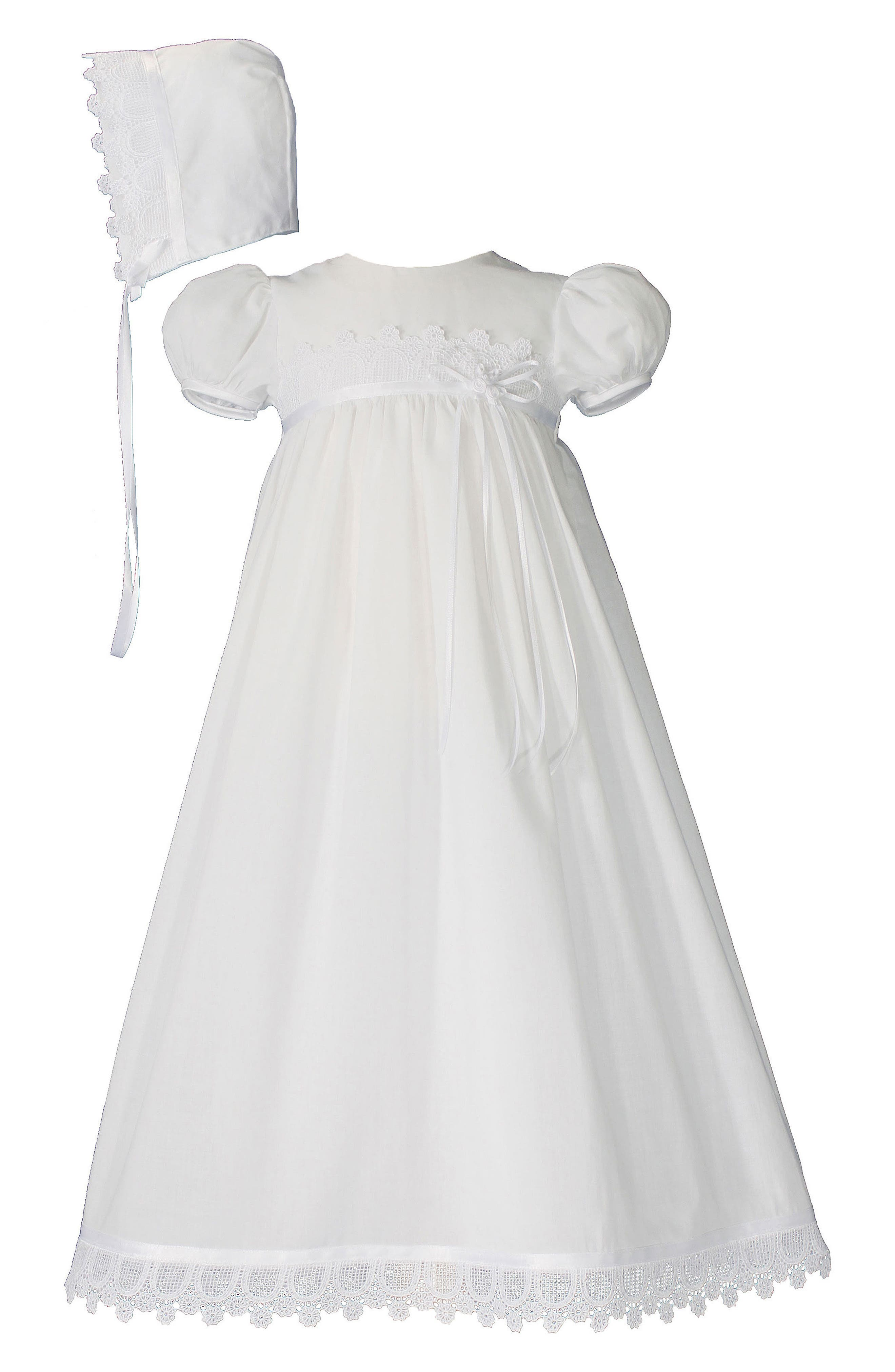 LITTLE THINGS MEAN A LOT, Christening Gown & Hat Set, Main thumbnail 1, color, WHITE