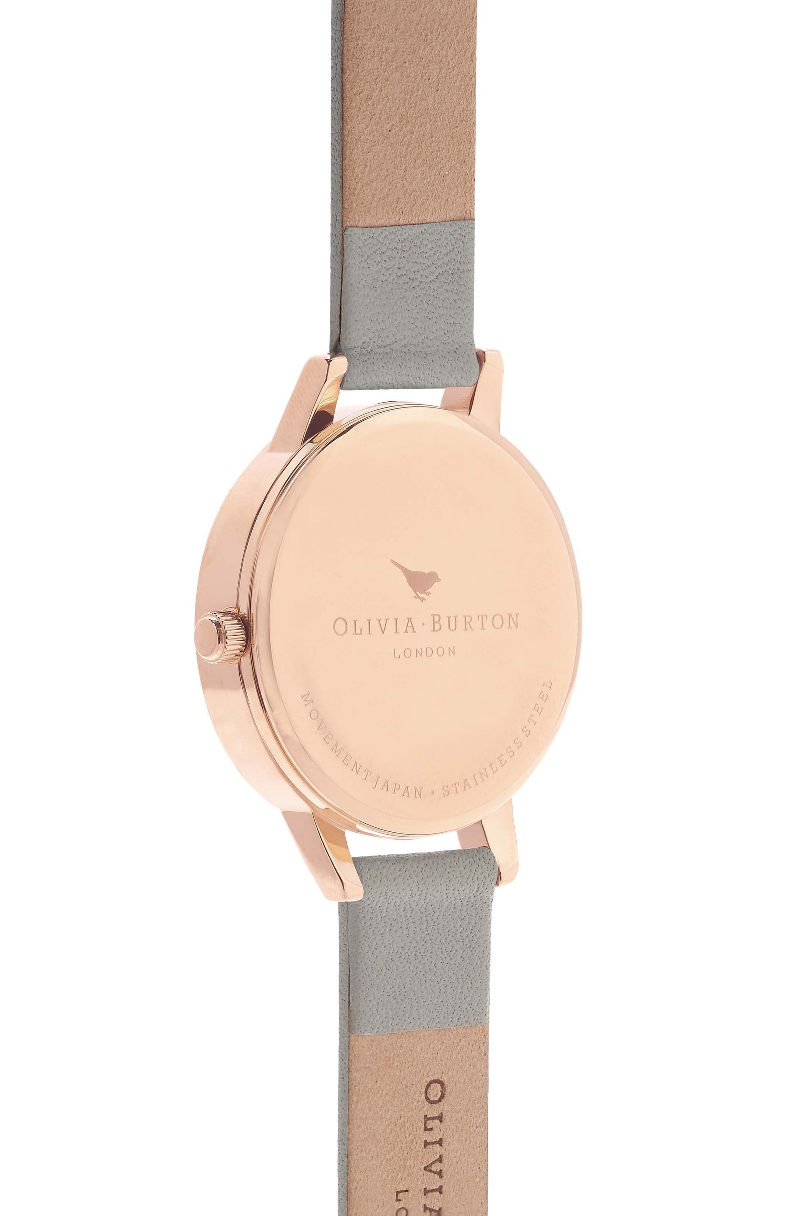 OLIVIA BURTON, Midi Dial Leather Strap Watch, 30mm, Alternate thumbnail 3, color, GREY/ WHITE/ ROSE GOLD