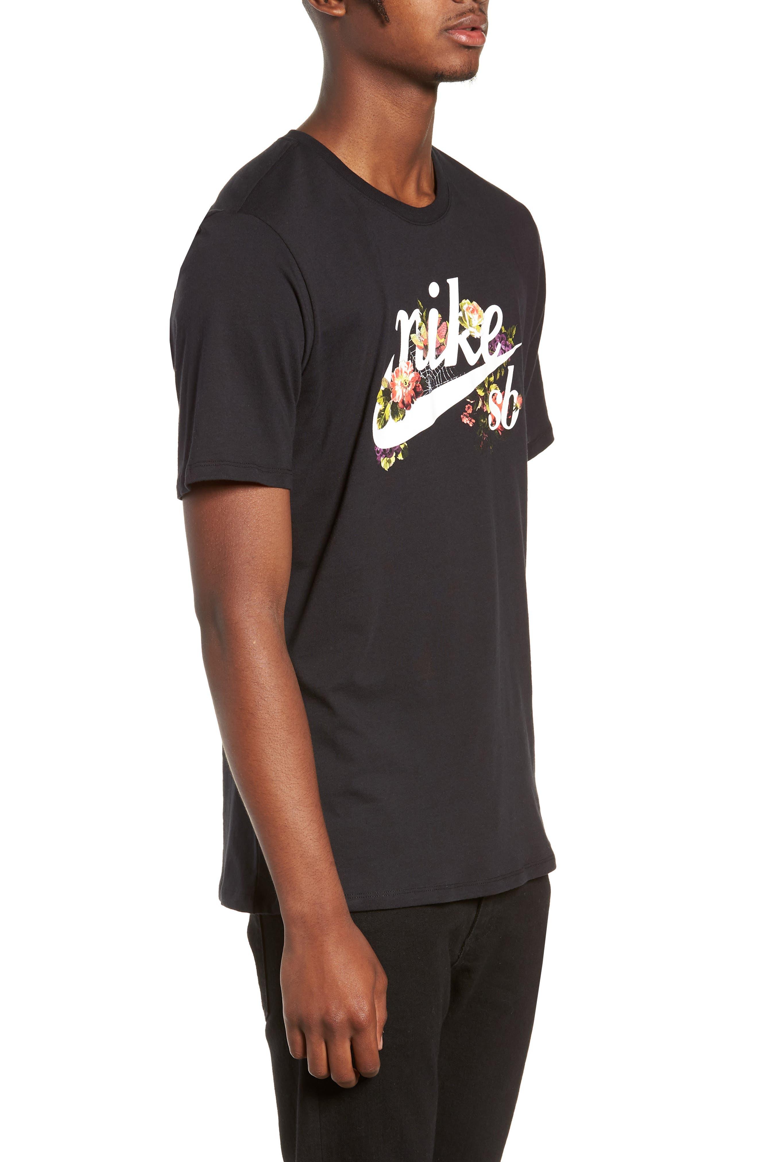 NIKE SB, Floral Logo T-Shirt, Alternate thumbnail 3, color, 010