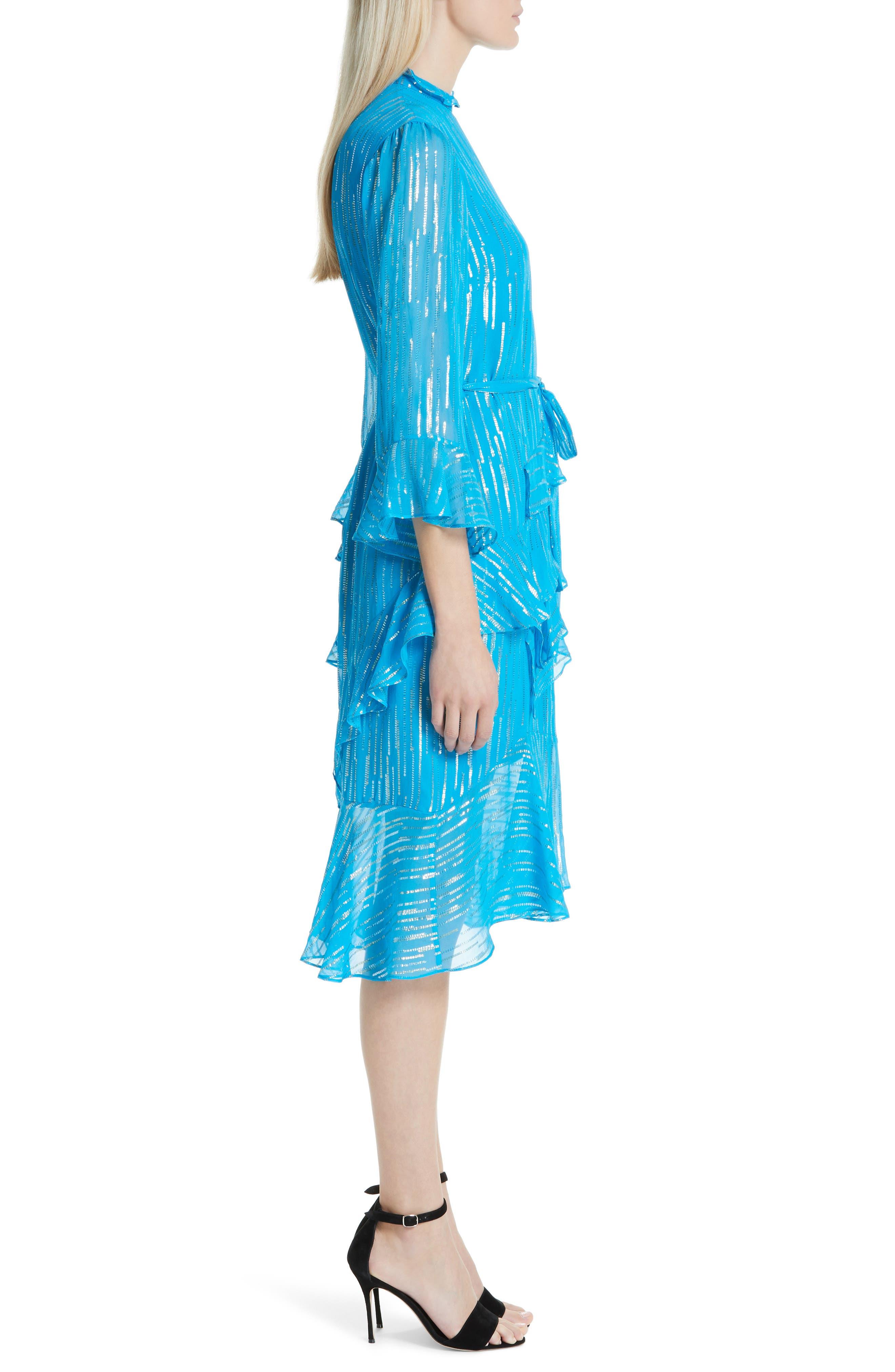 SALONI, Marissa Metallic Ruffle Dress, Alternate thumbnail 4, color, TURQUOISE/ METALLIC
