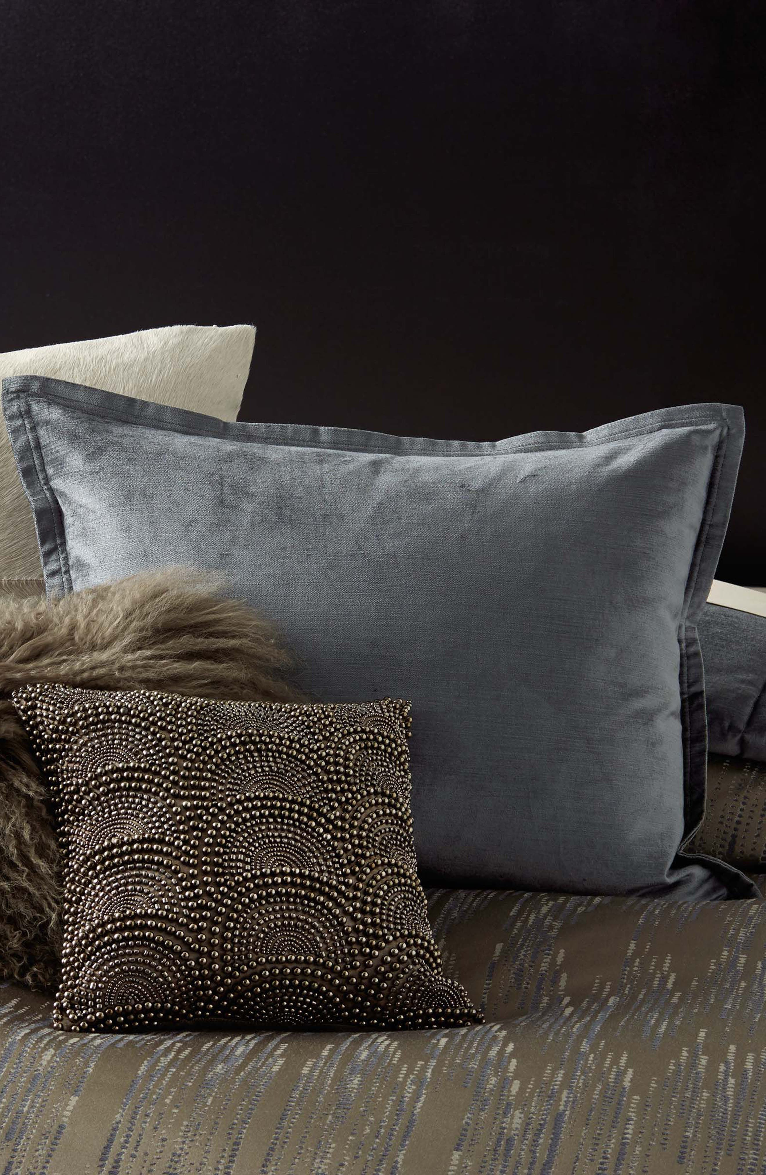 DONNA KARAN NEW YORK, Exhale Flokati Genuine Sheepskin Pillow, Main thumbnail 1, color, TAUPE