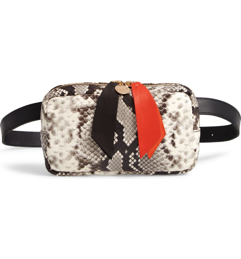 Clare V LE BELT PYTHON EMBOSSED LEATHER CONVERTIBLE CROSSBODY BAG - WHITE